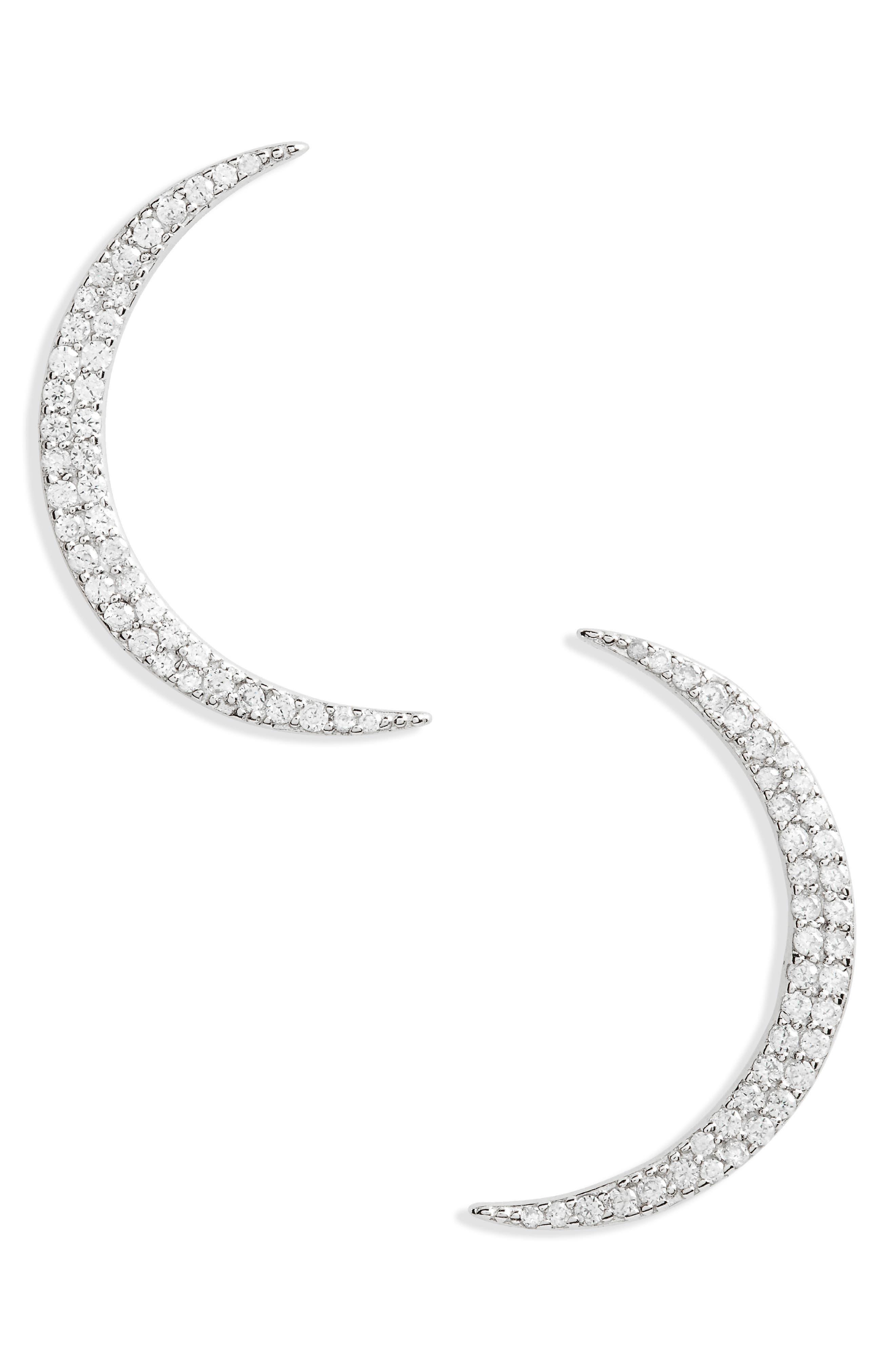 Shashi Pavé Crescent Earrings