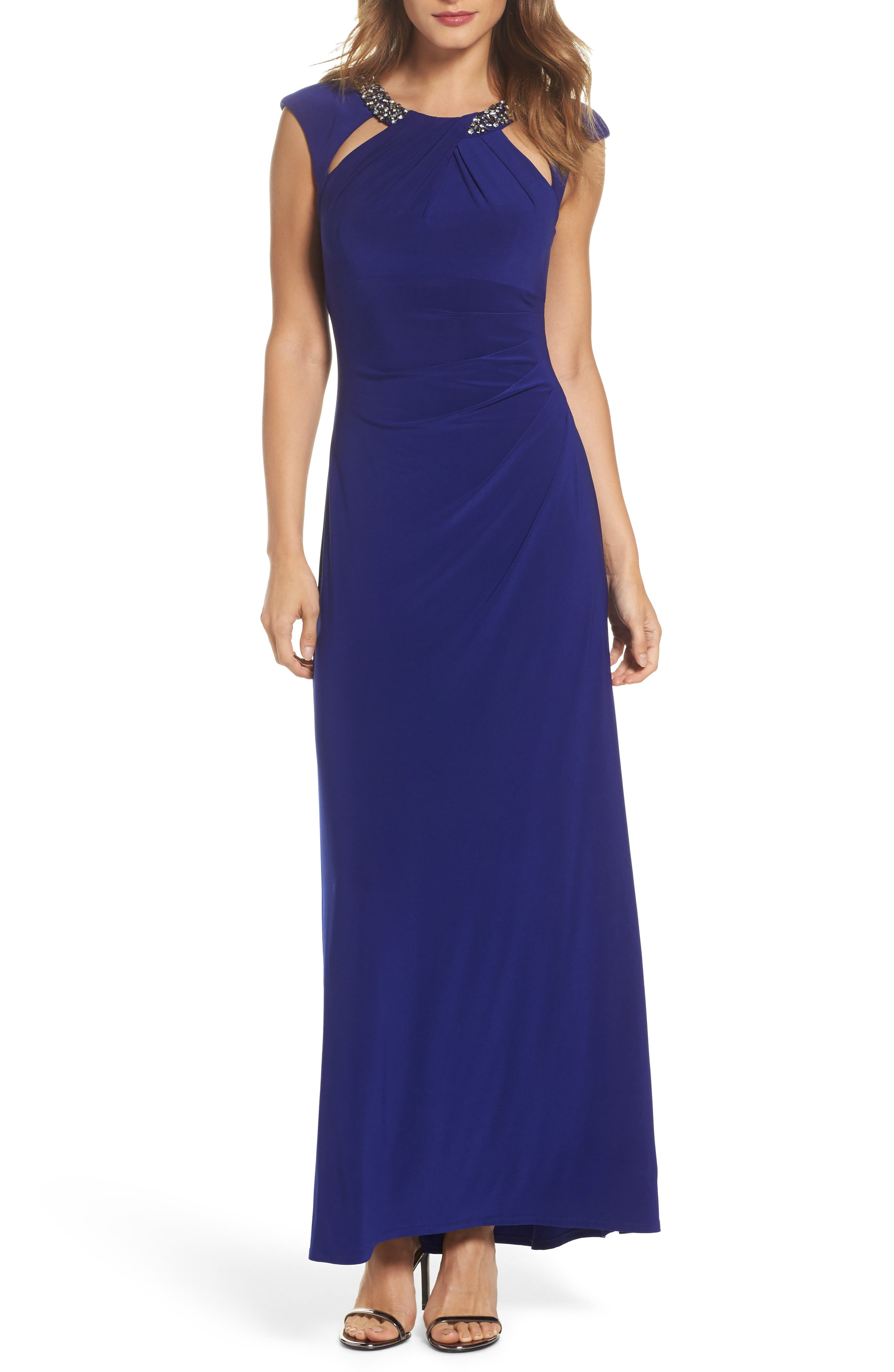 Eliza J Jeweled Neck Column Gown (Regular & Petite)