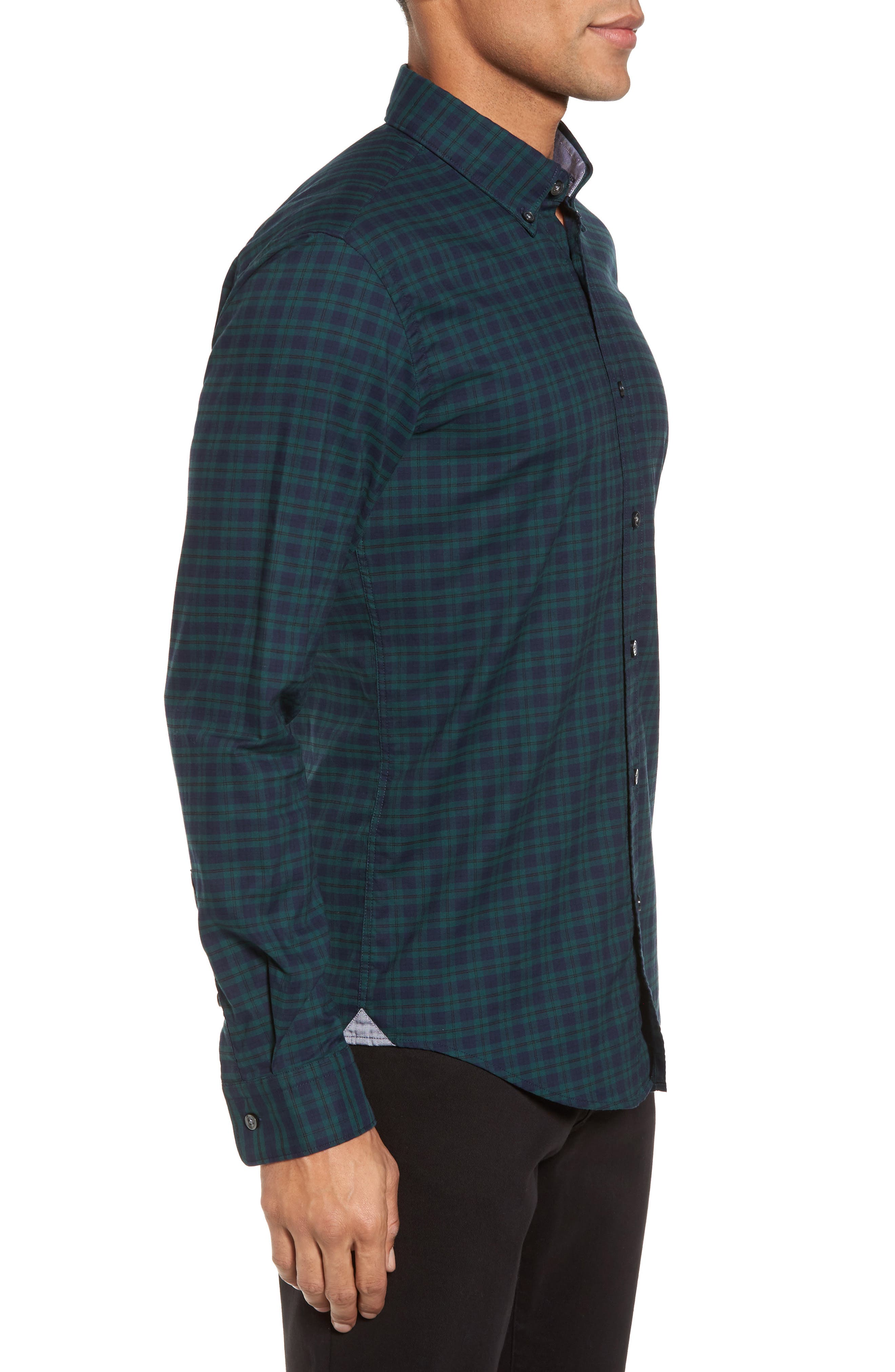 Rod Trim Fit Check Oxford Sport Shirt,                             Alternate thumbnail 3, color,                             Green