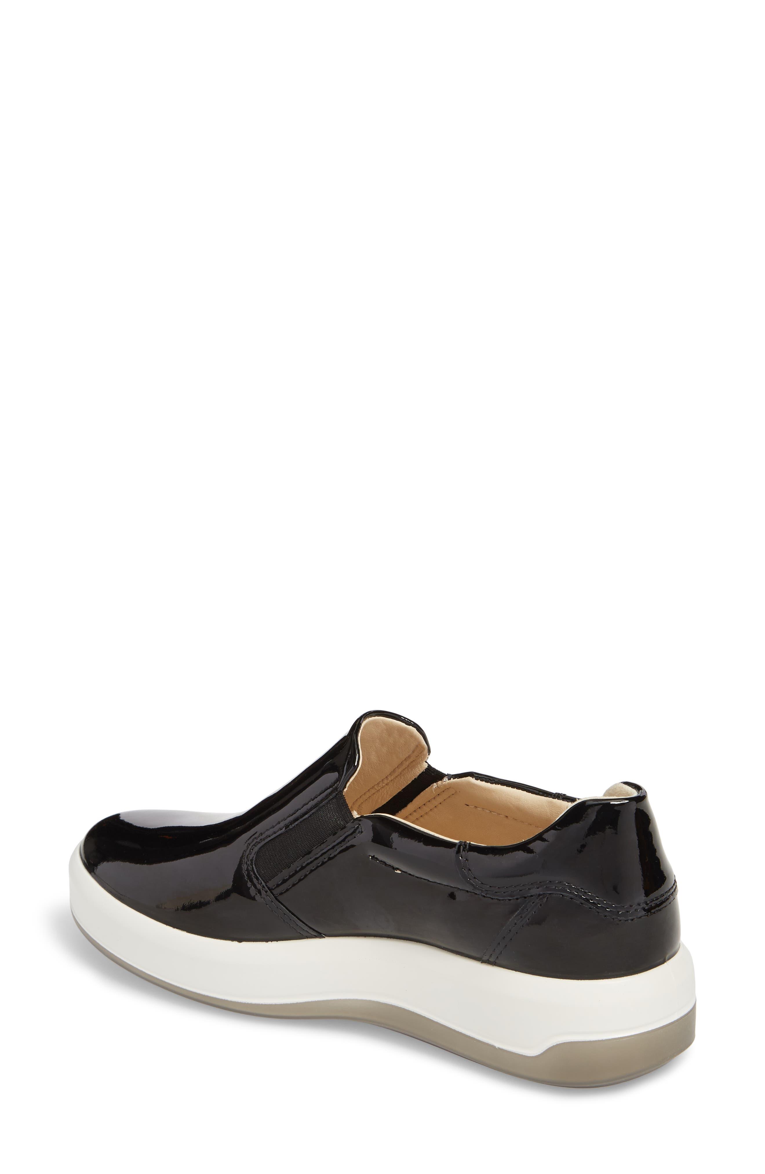Soft 9 Slip-On Sneaker,                             Alternate thumbnail 2, color,                             Black Patent Leather