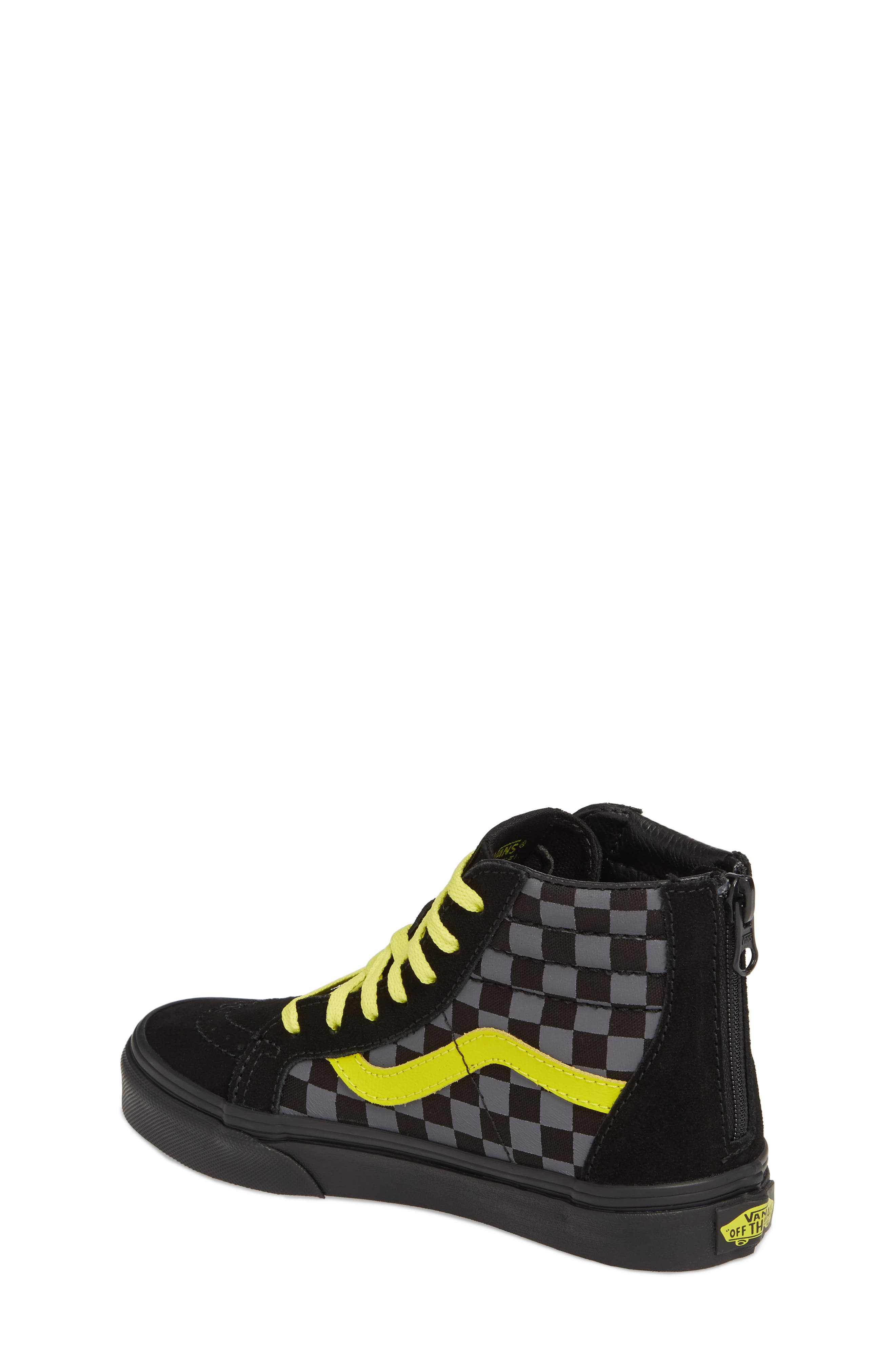 Reflective Checkerboard SK8-Hi Zip Sneaker,                             Alternate thumbnail 2, color,                             Asphalt/ Reflective