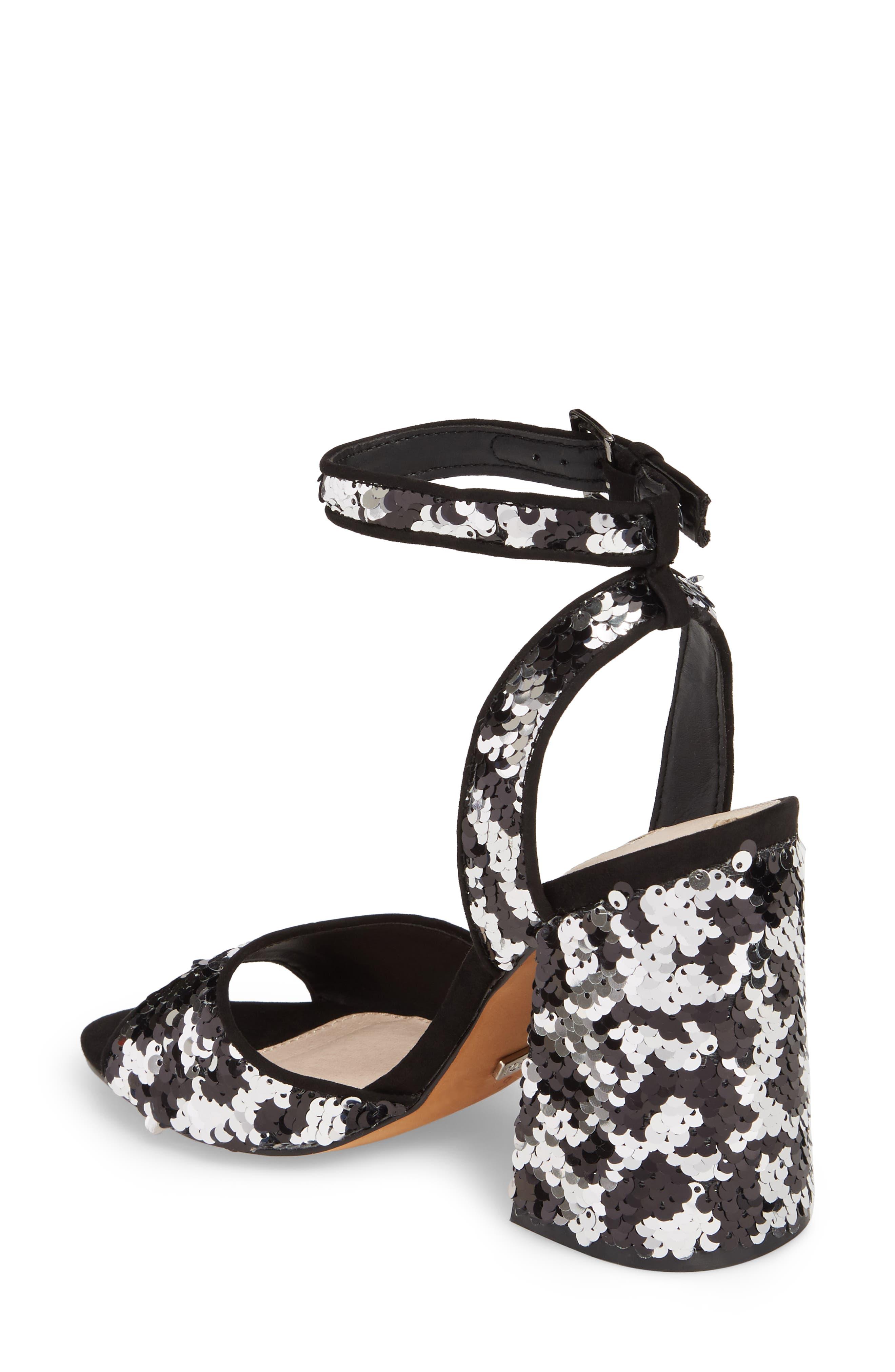 Reaction Sequin Block Heel Sandal,                             Alternate thumbnail 2, color,                             Black Multi