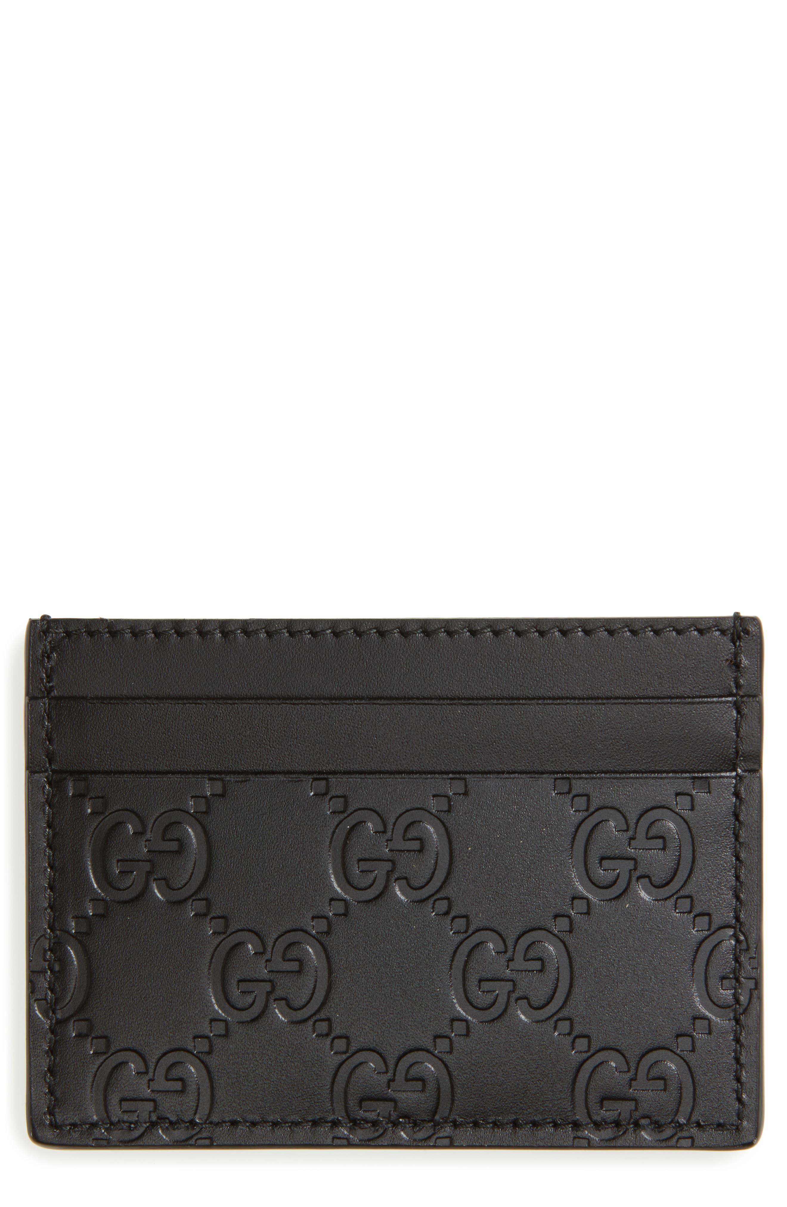 Leather Card Case,                         Main,                         color, 1000 Nero