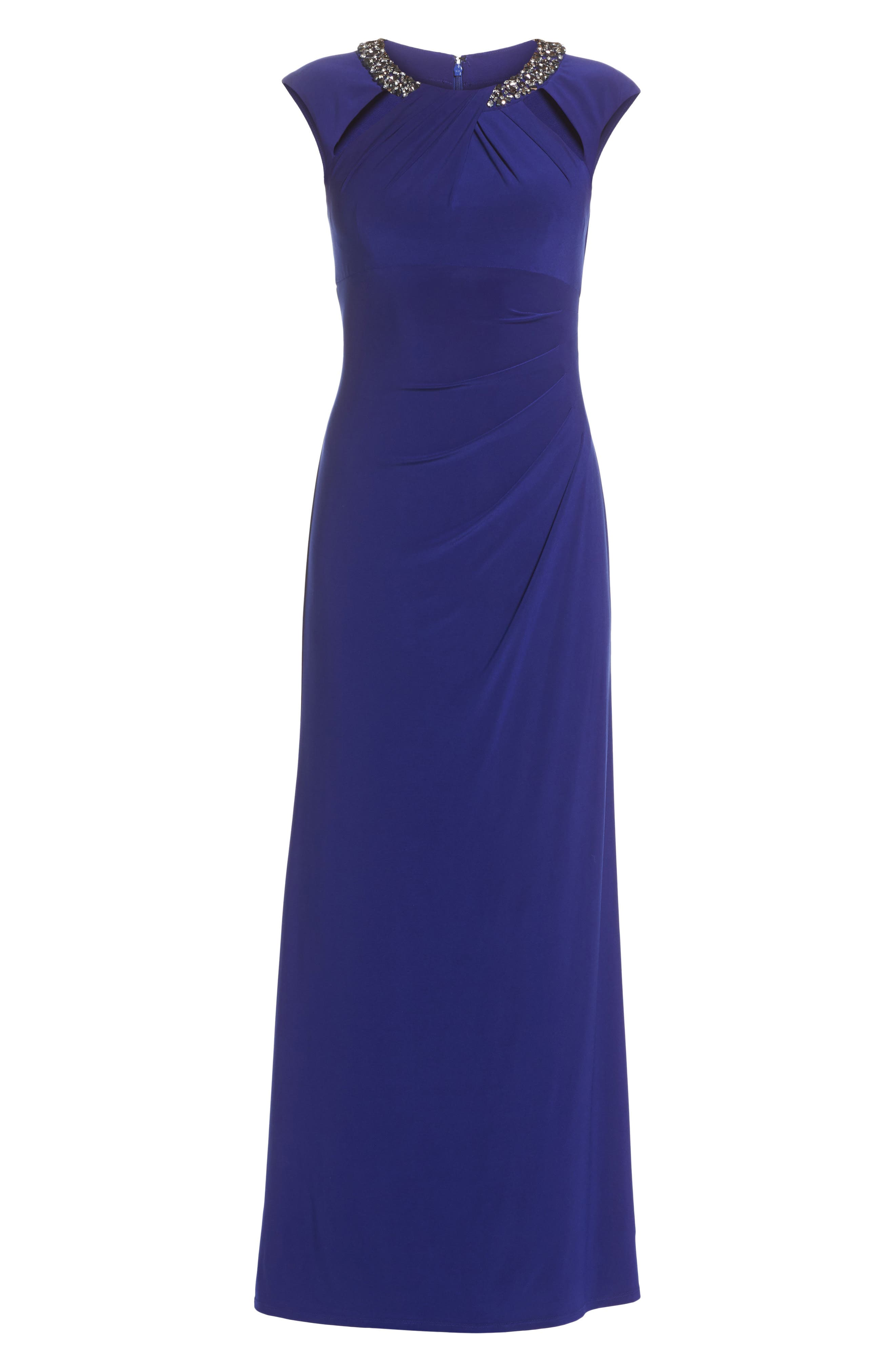 Jeweled Neck Column Gown,                             Alternate thumbnail 6, color,                             Cobalt
