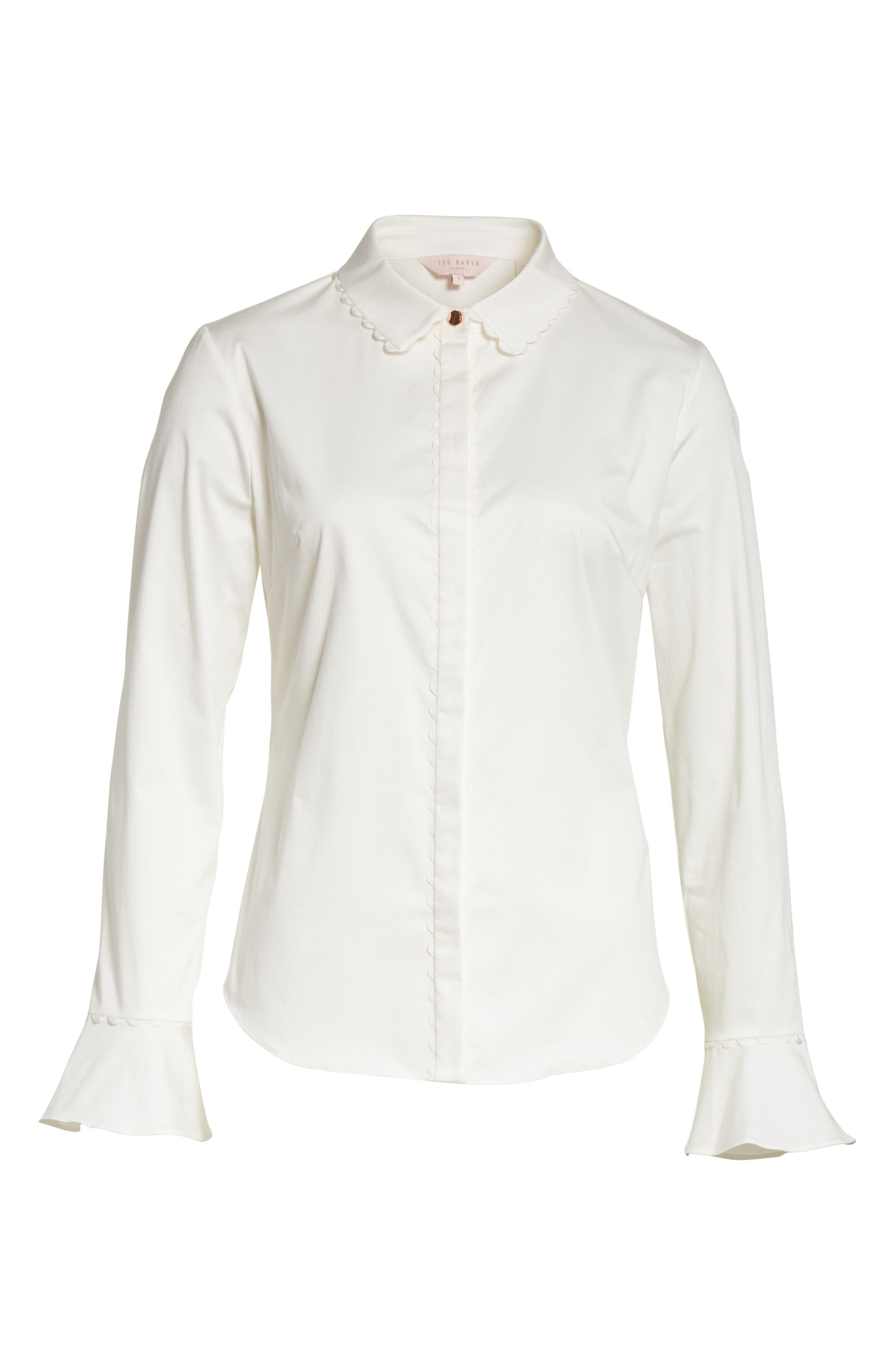 Alternate Image 6  - Ted Baker London Fluted Scallop Trim Shirt