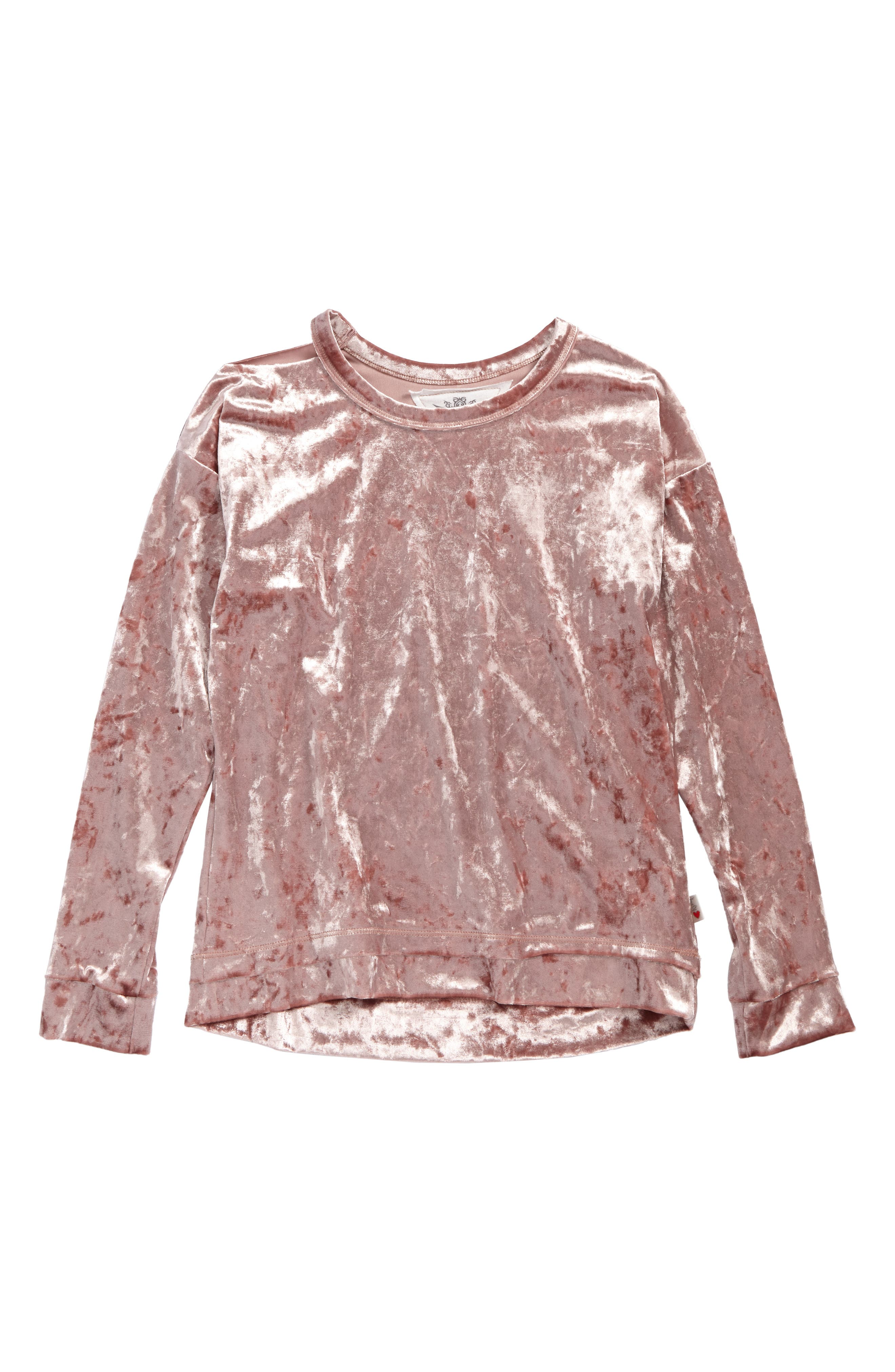 Velour Cutout Pullover,                             Main thumbnail 1, color,                             Winter Rose