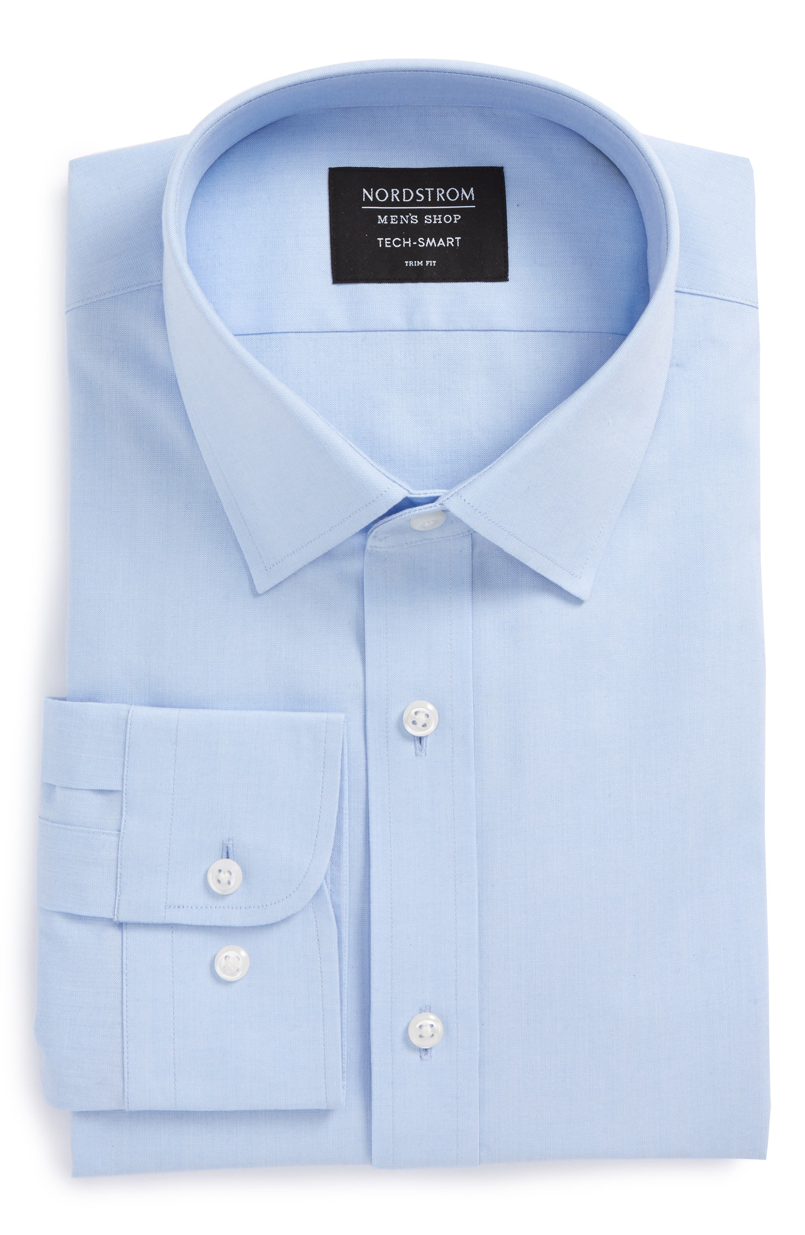 Tech-Smart Trim Fit Stretch Pinpoint Dress Shirt,                             Alternate thumbnail 4, color,                             Blue Xenon
