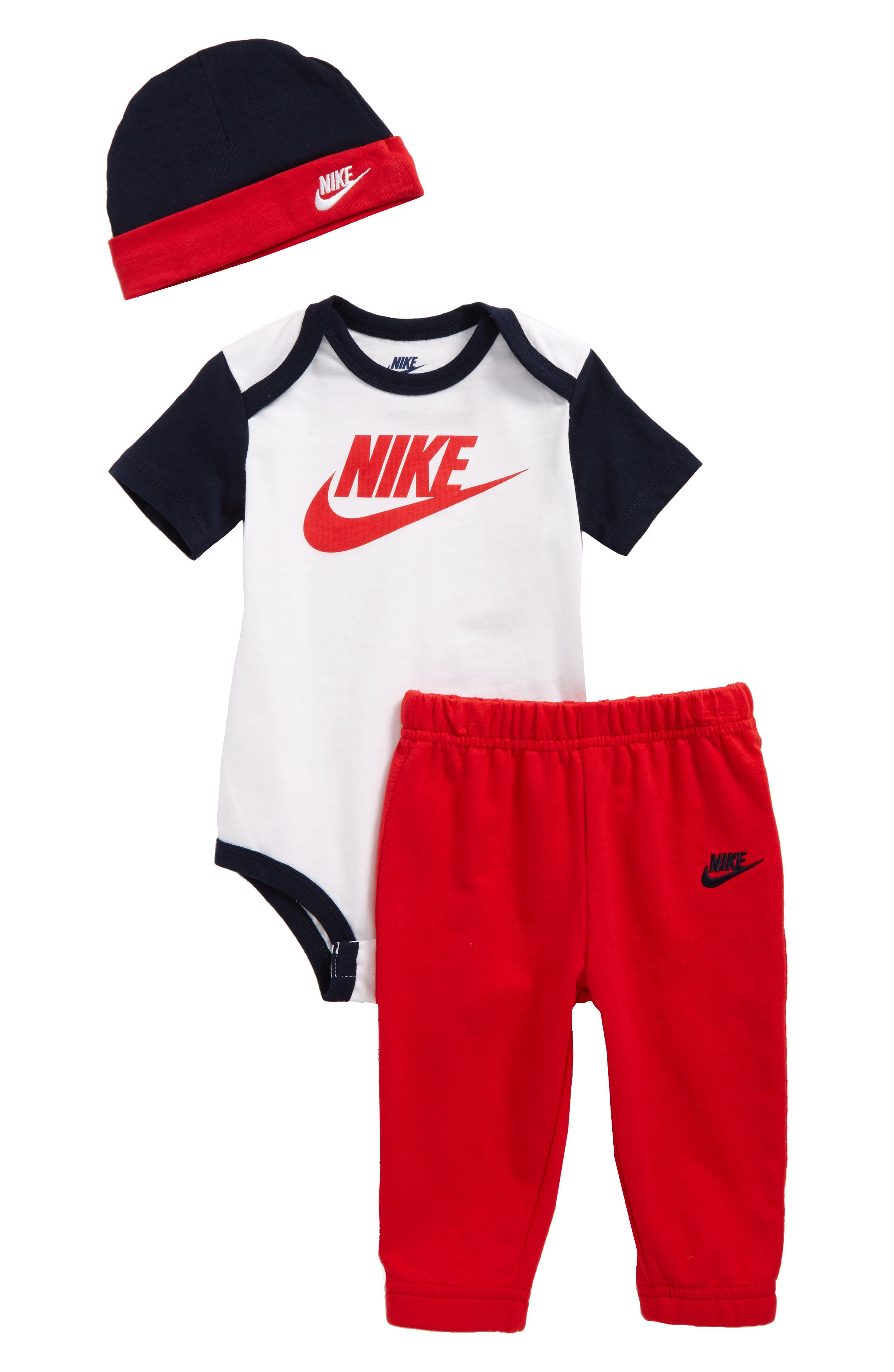Bodysuit, Jogger Pants & Beanie Set,                             Main thumbnail 1, color,                             University Red