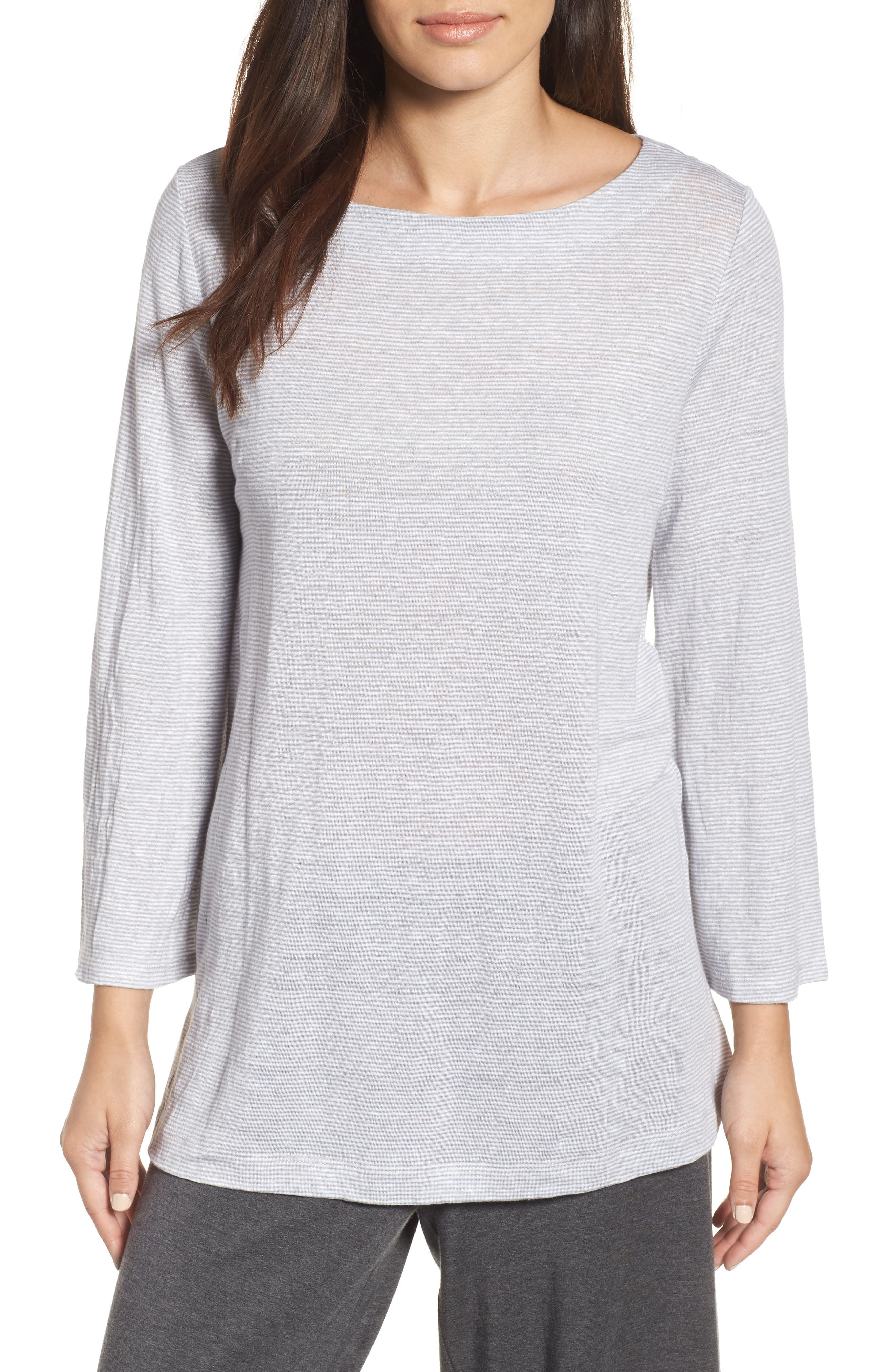 Eileen Fisher Organic Linen Bateau Neck Top (Regular & Petite)
