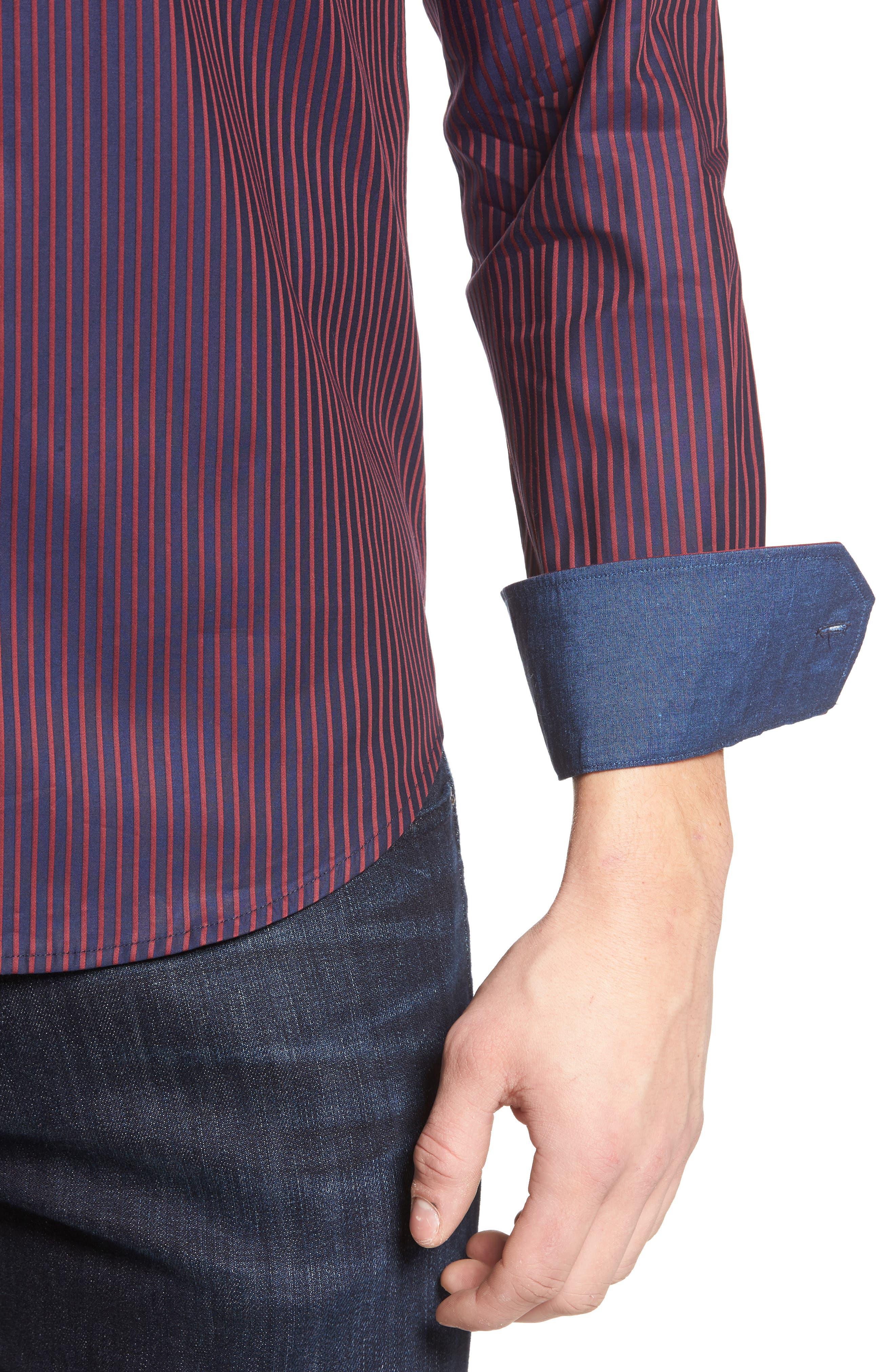 Shaped Fit Stripe Sport Shirt,                             Alternate thumbnail 4, color,                             Wine