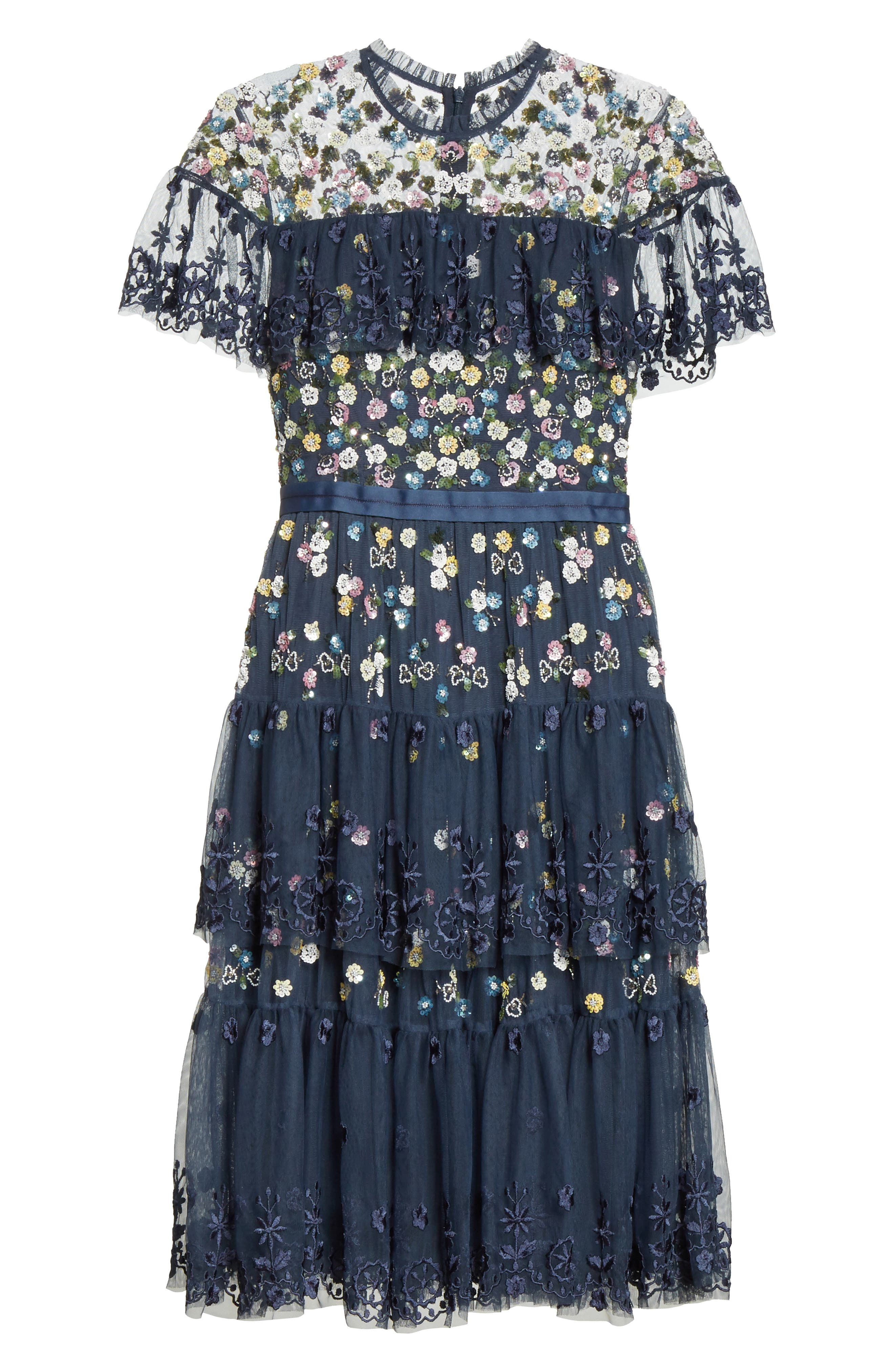 Anglais Tiered Dress,                             Alternate thumbnail 6, color,                             Washed Indigo