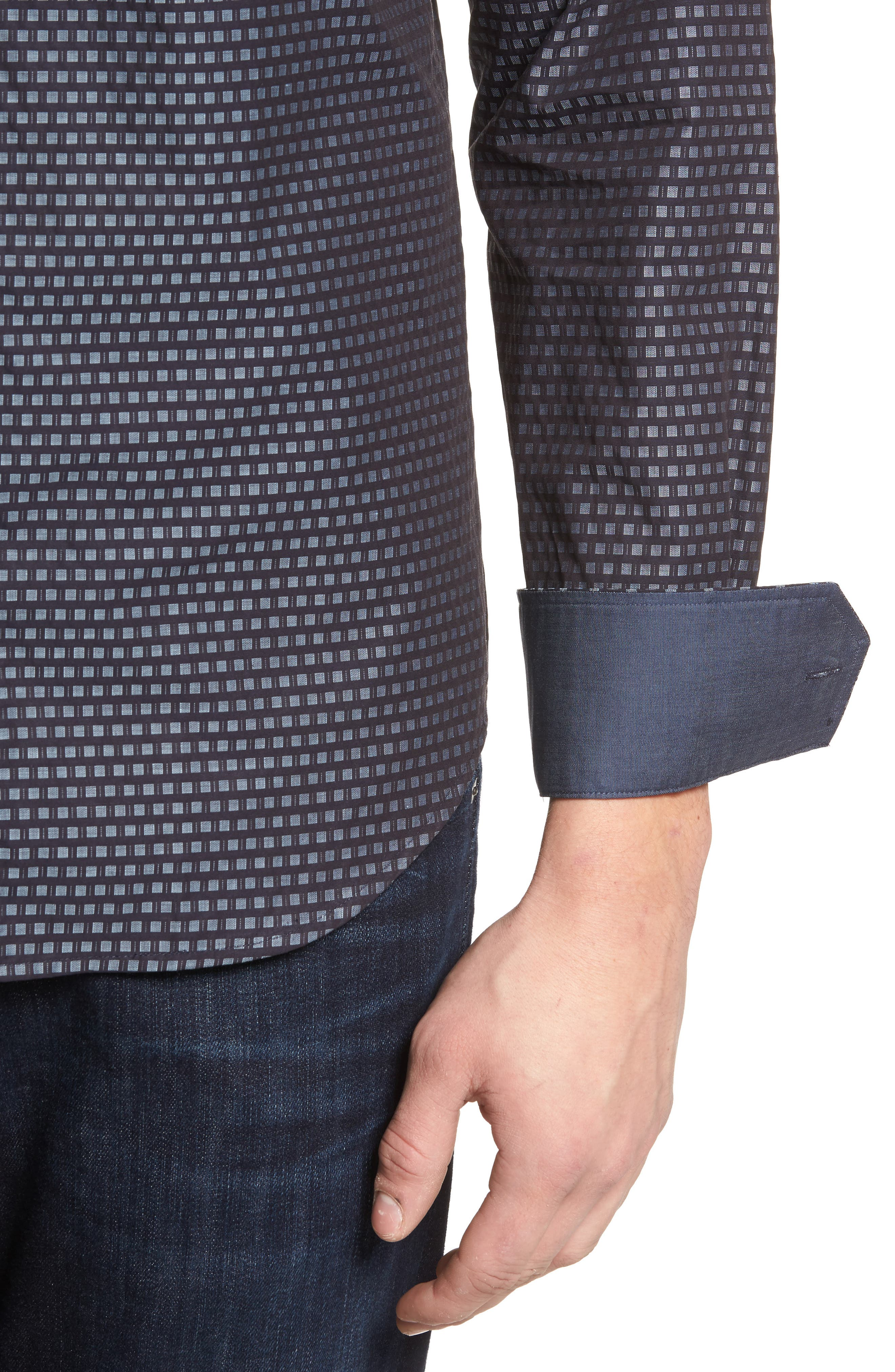 Shaped Fit Sport Shirt,                             Alternate thumbnail 4, color,                             Midnight