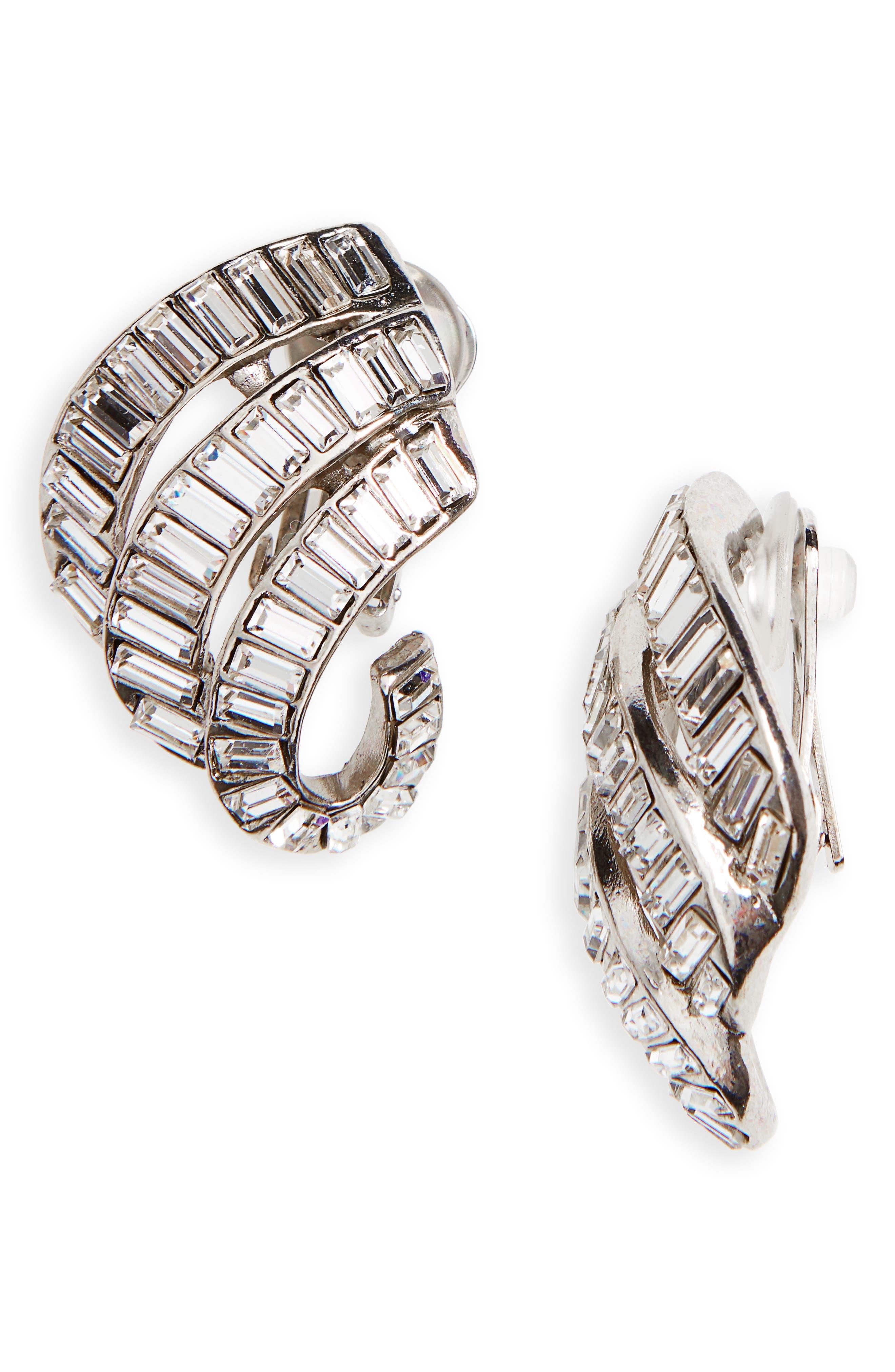 Oscar de la Renta Crystal Clip Earrings