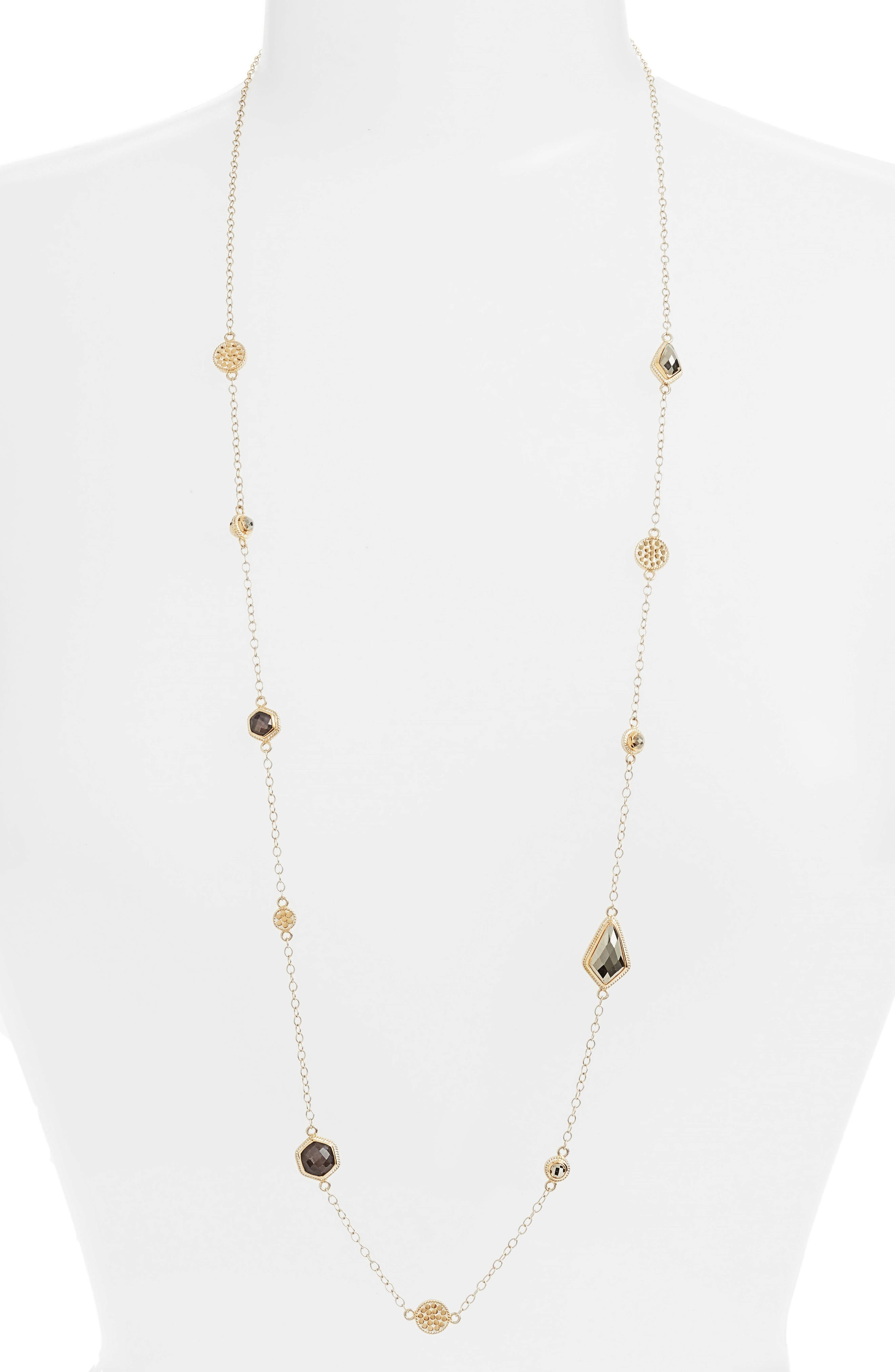 Grey Sapphire & Pyrite Long Station Necklace,                         Main,                         color, Gold/ Silver/ Grey/ Pyrite