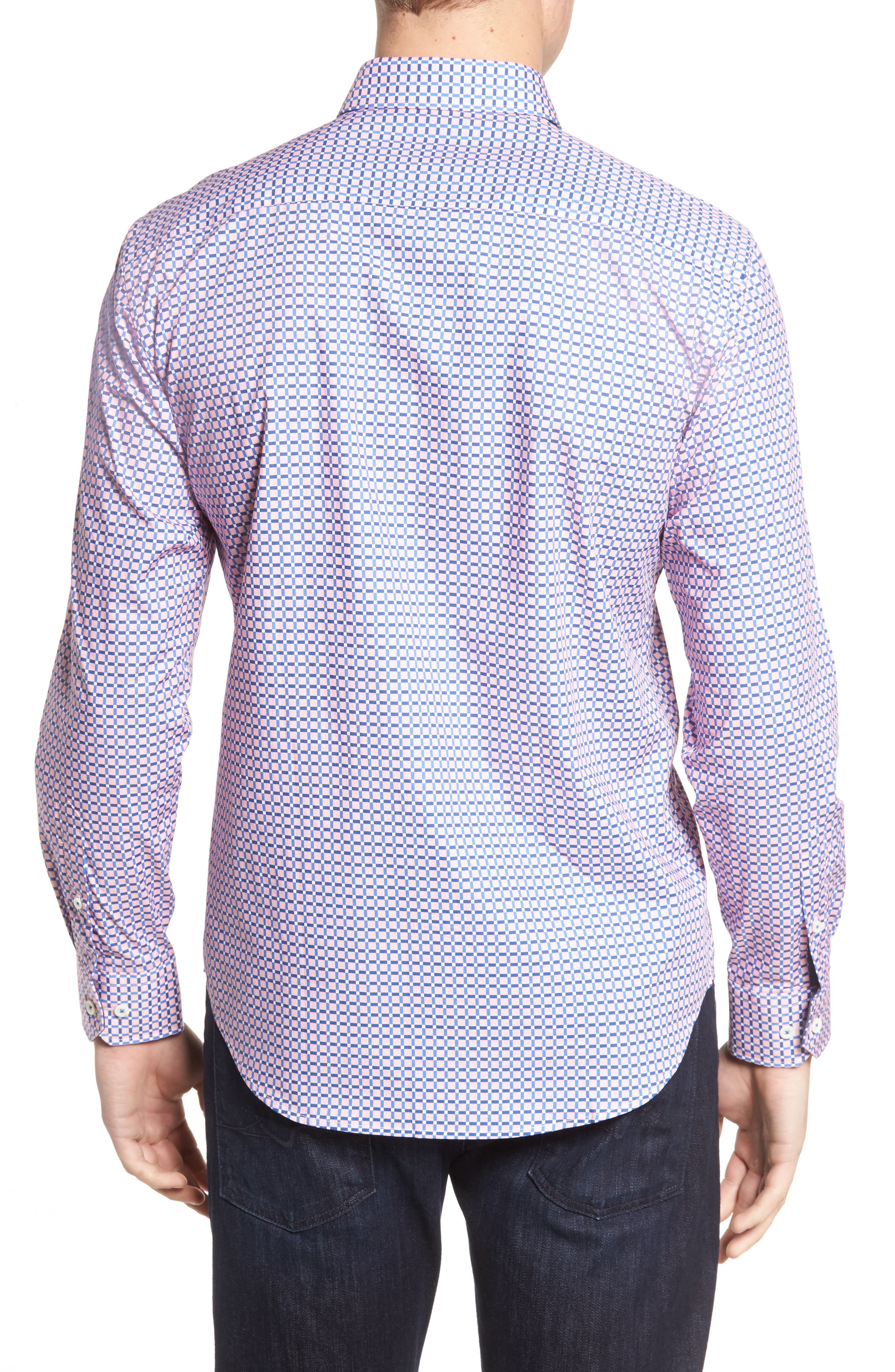 Alternate Image 2  - Bugatchi Shaped Fit Grid Print Sport Shirt
