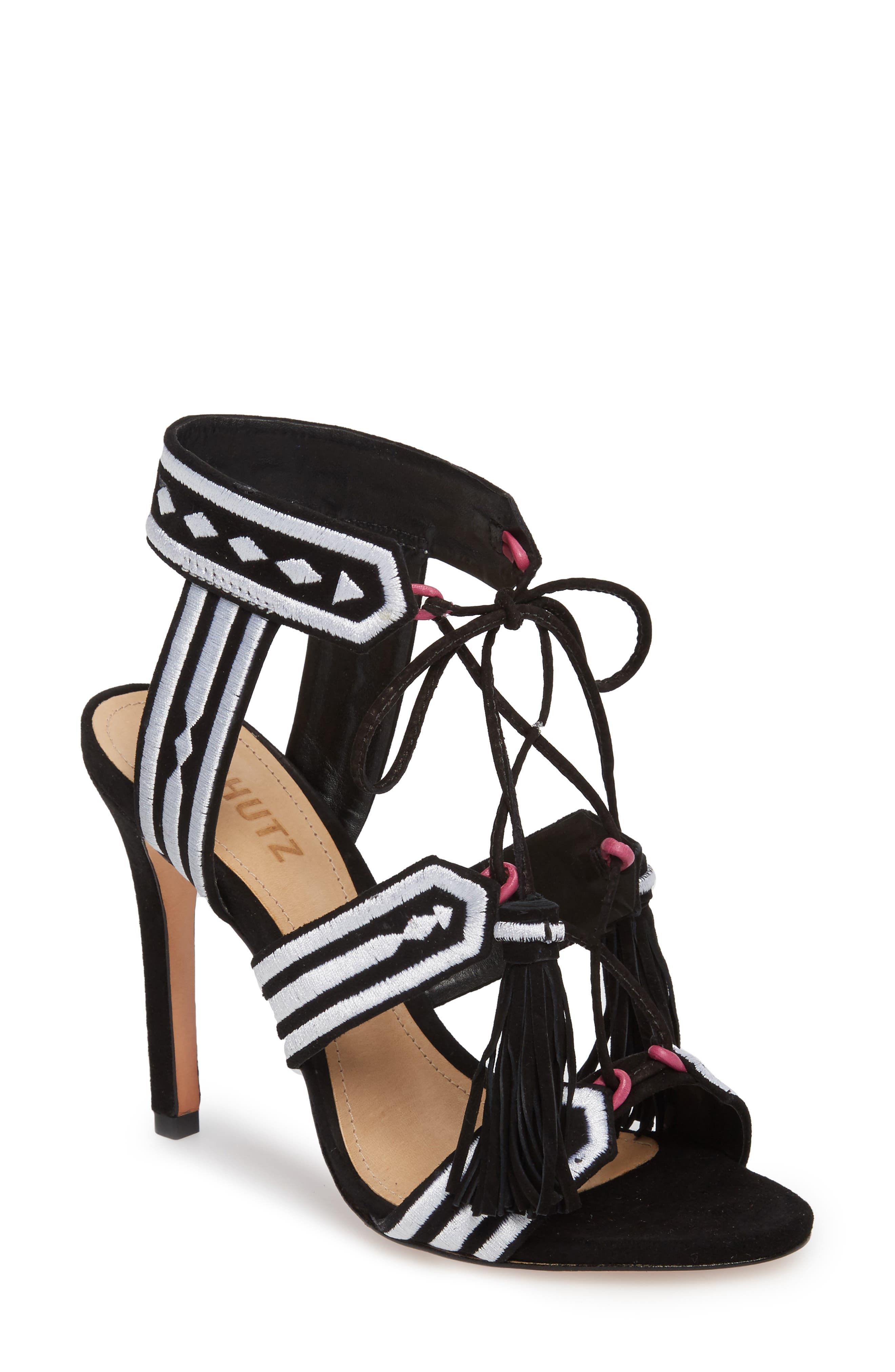 Eurica Embroidered Tassel Sandal,                             Main thumbnail 1, color,                             Black Suede
