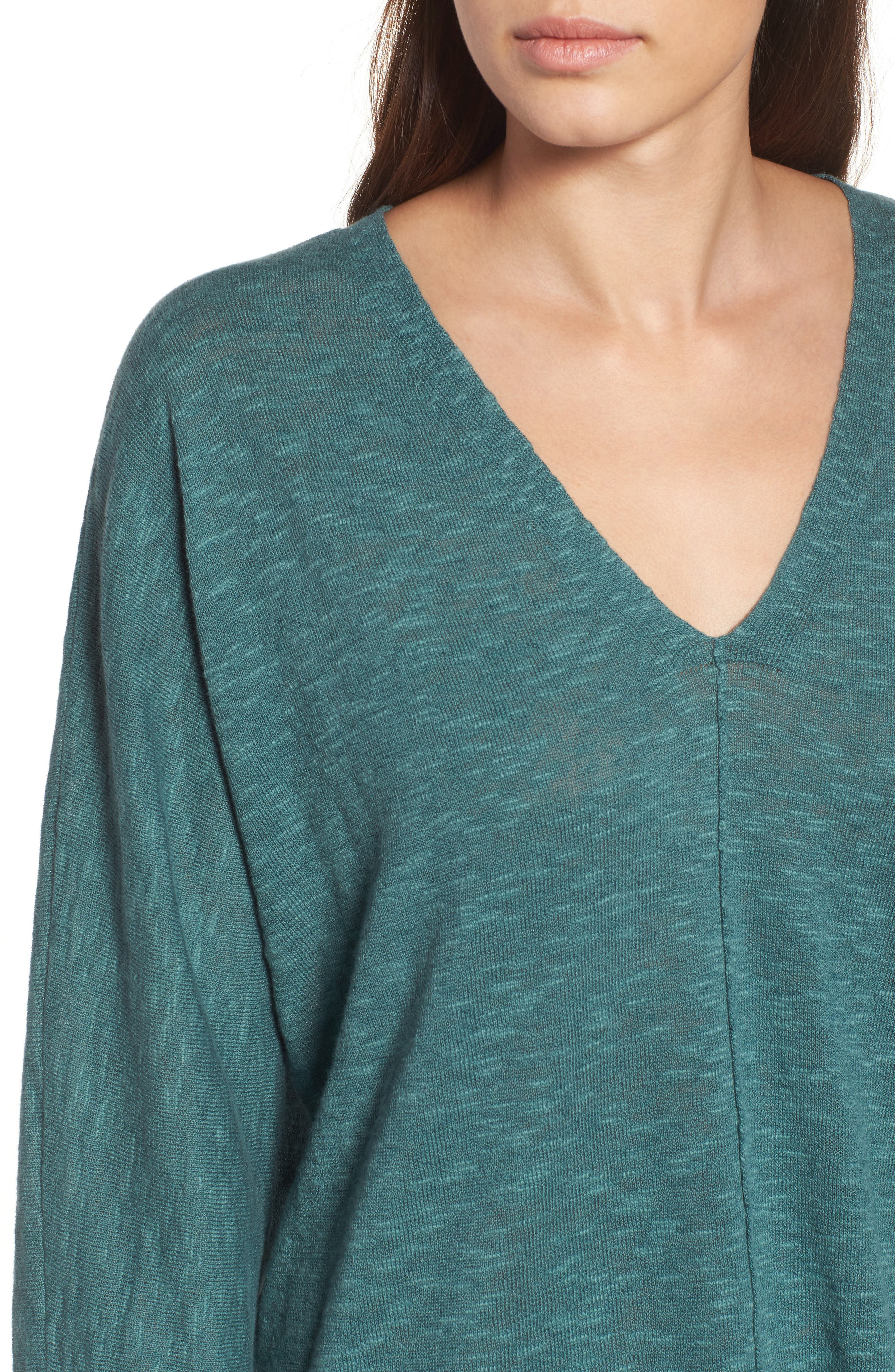 Organic Linen & Cotton Sweater,                             Alternate thumbnail 4, color,                             Teal