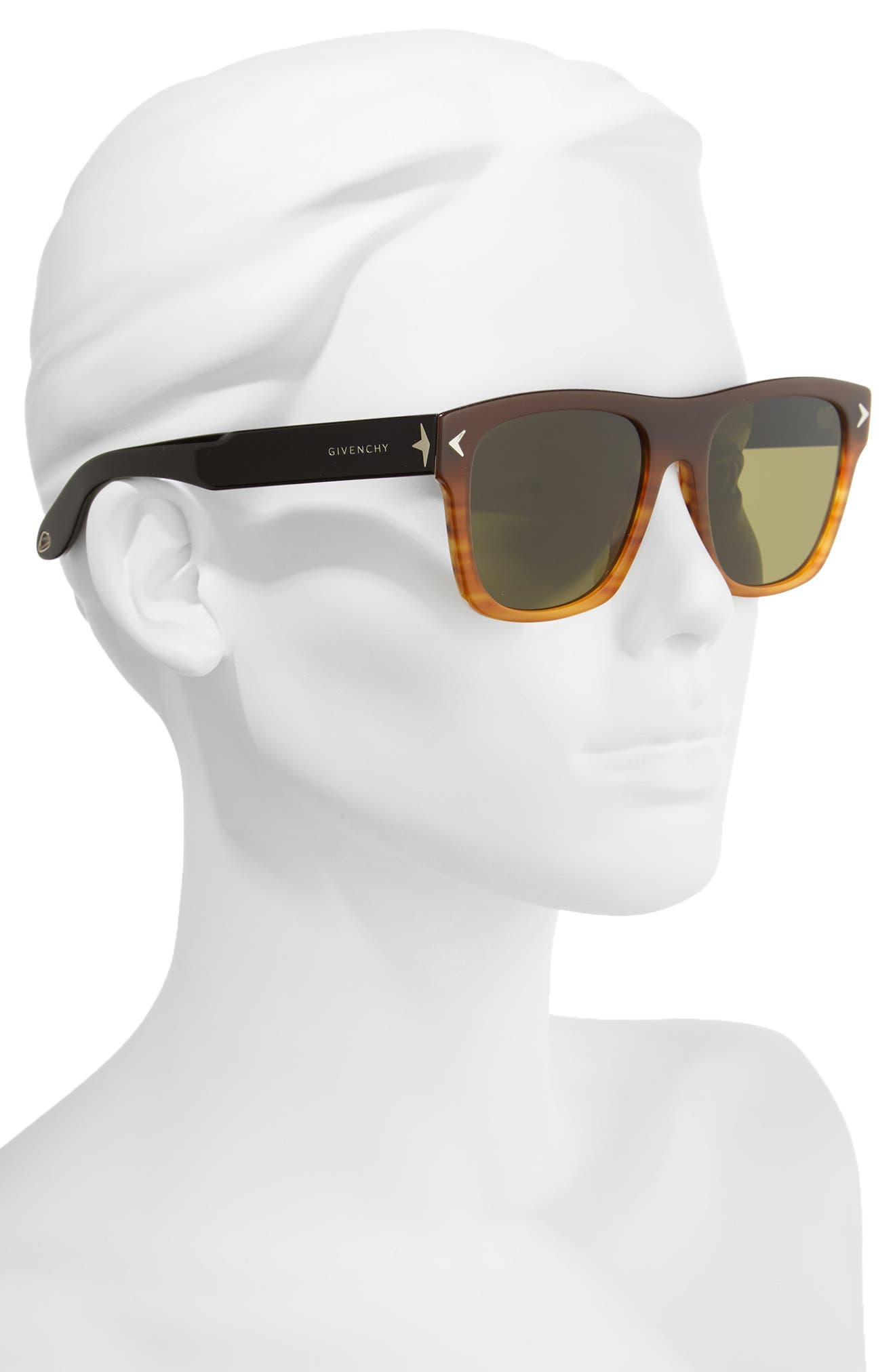 55mm Square Sunglasses,                             Alternate thumbnail 2, color,                             Brown/ Black