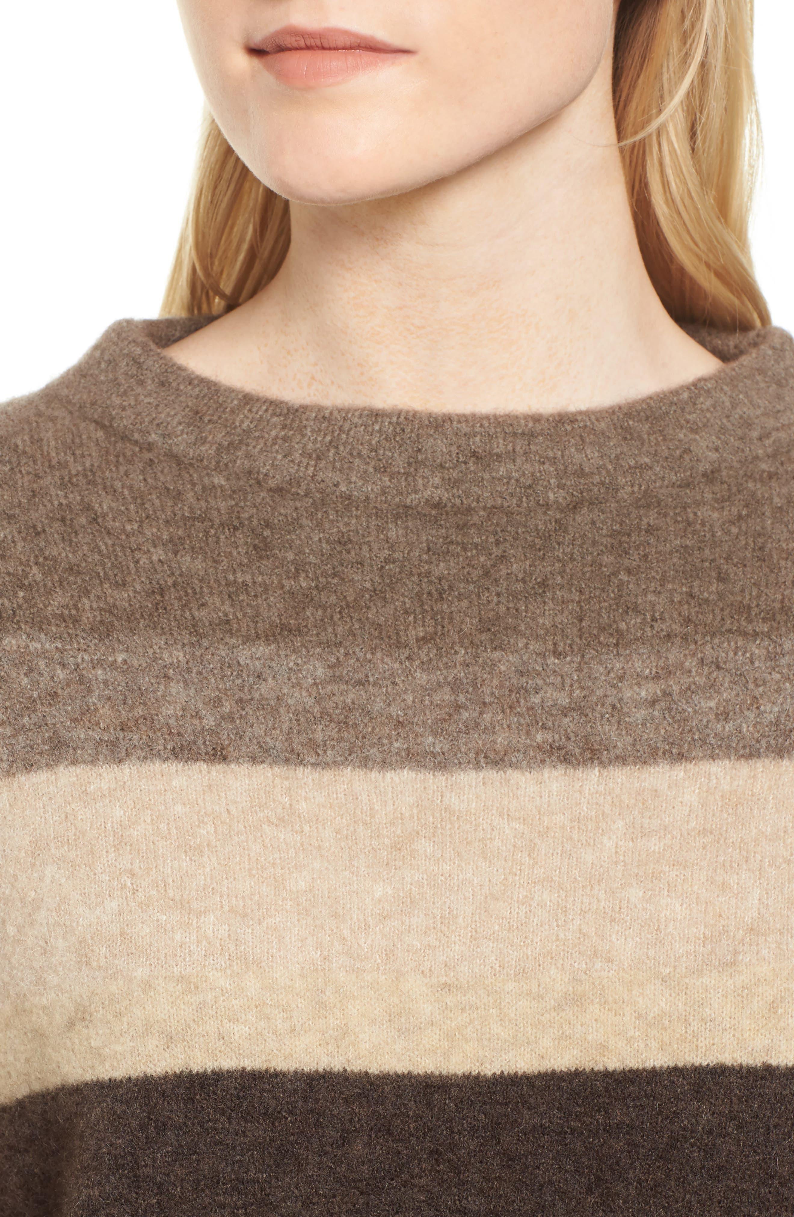 Stripe Sweater,                             Alternate thumbnail 4, color,                             Brown Multi Stripe