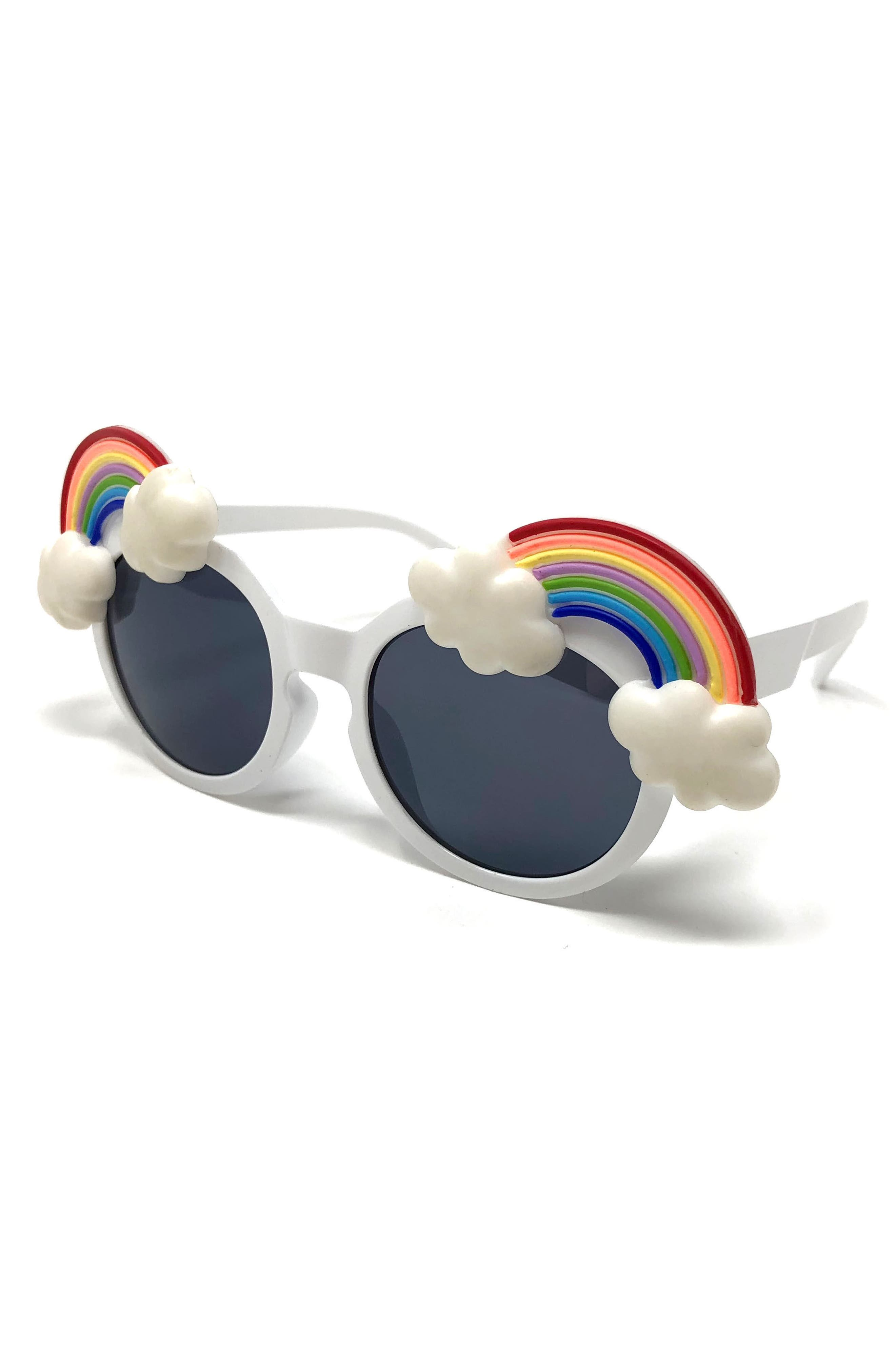 Small Round Rainbow Sunglasses,                             Alternate thumbnail 3, color,                             White/Rainbow