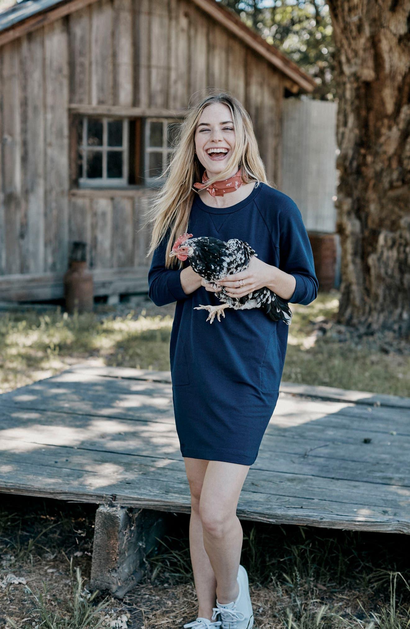 Nadja Dolman Sleeve Dress,                             Alternate thumbnail 2, color,                             Navy