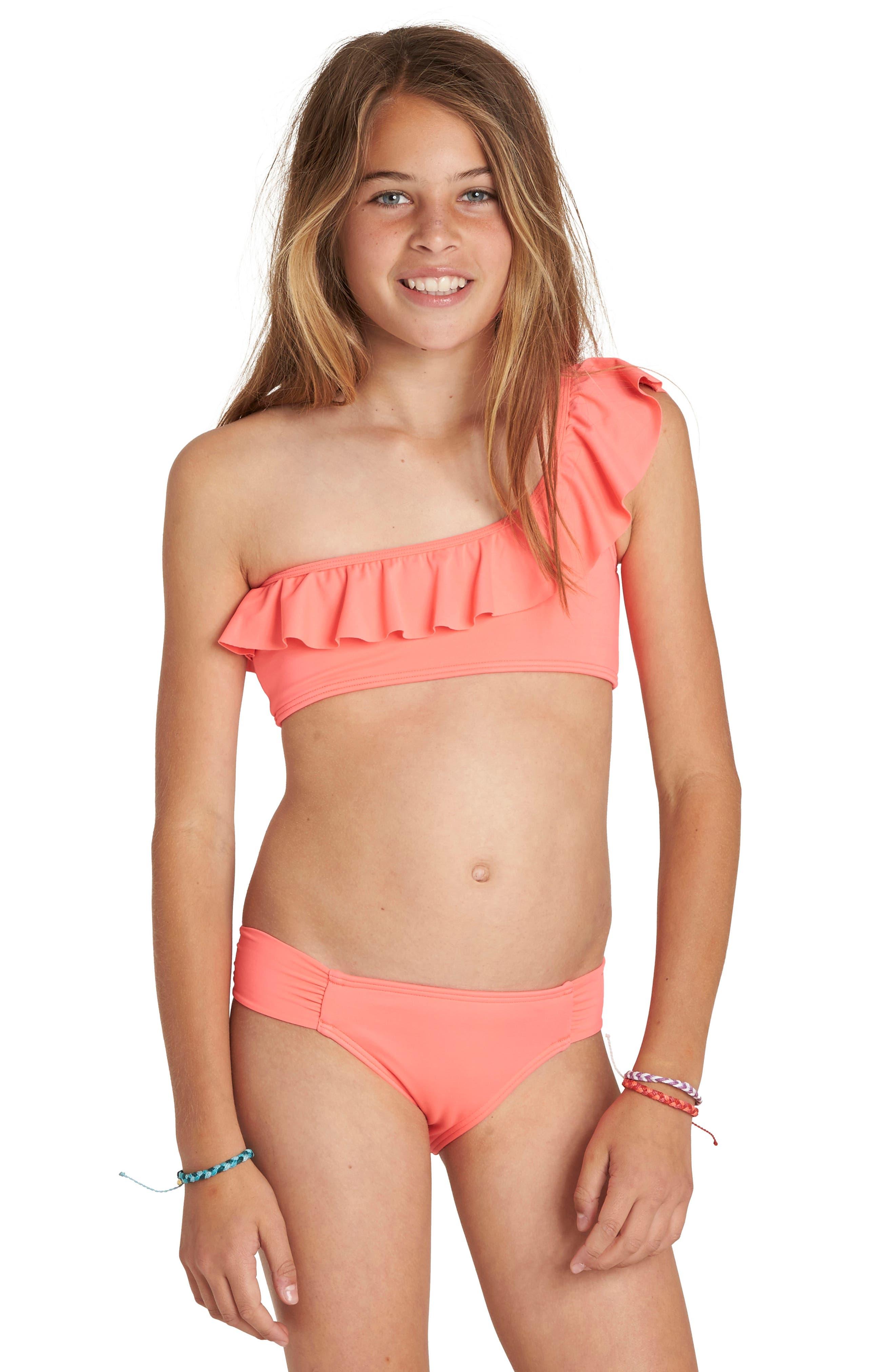 Sol Searcher Two-Piece Swimsuit,                             Alternate thumbnail 3, color,                             Neon Coral