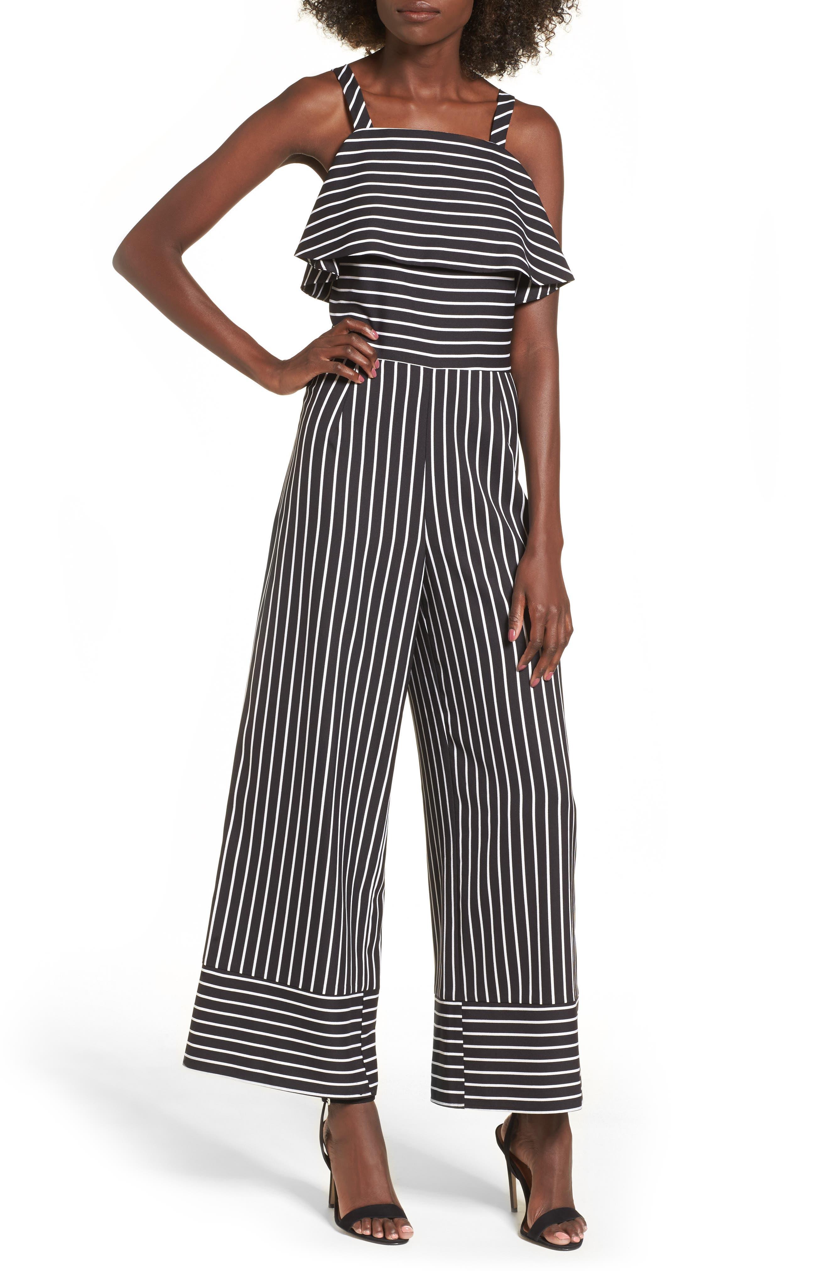 Stripe Jumpsuit,                         Main,                         color, Black Bold Stripe