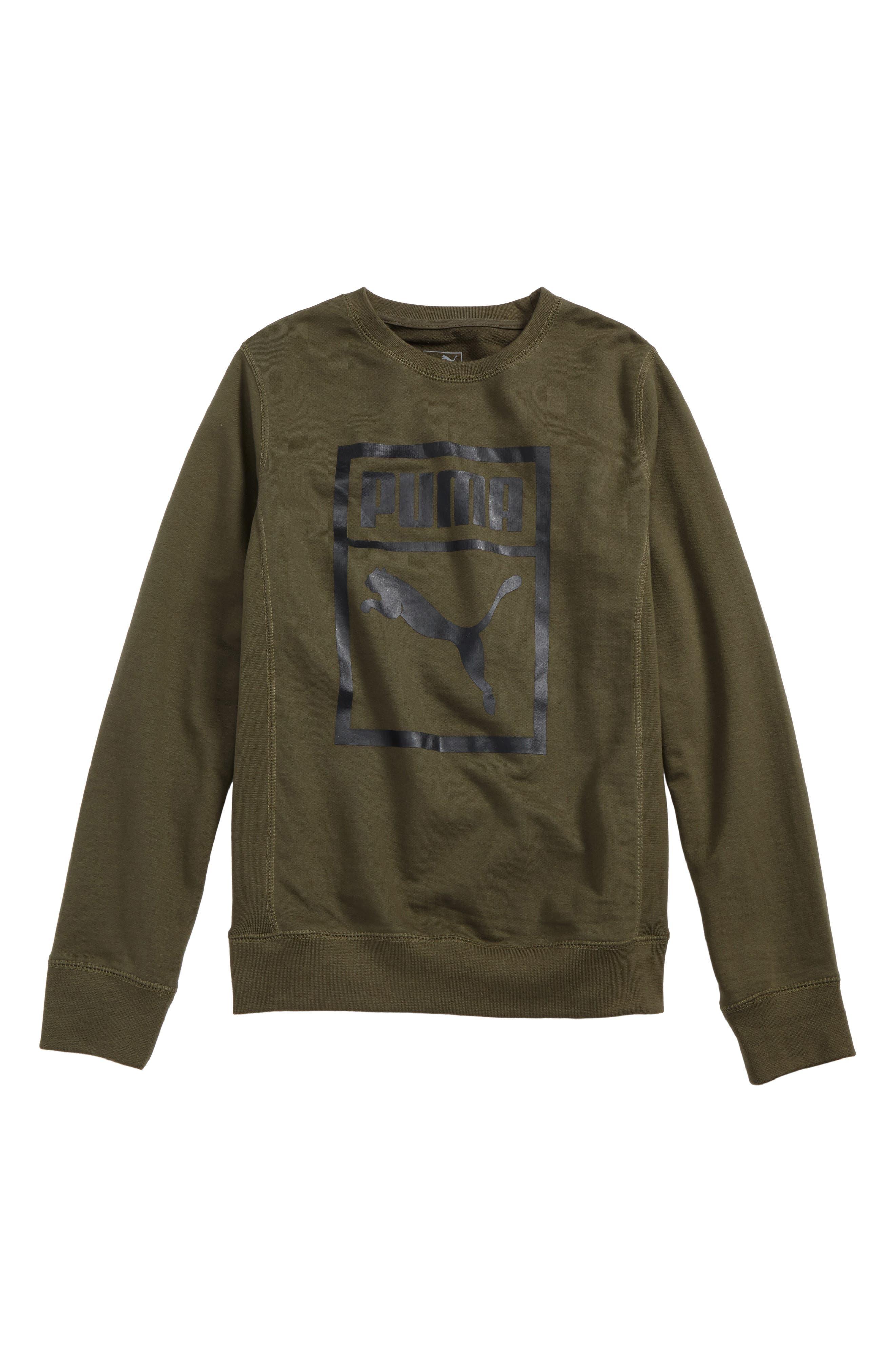 Heritage Crewneck Sweatshirt,                         Main,                         color, Olive Night