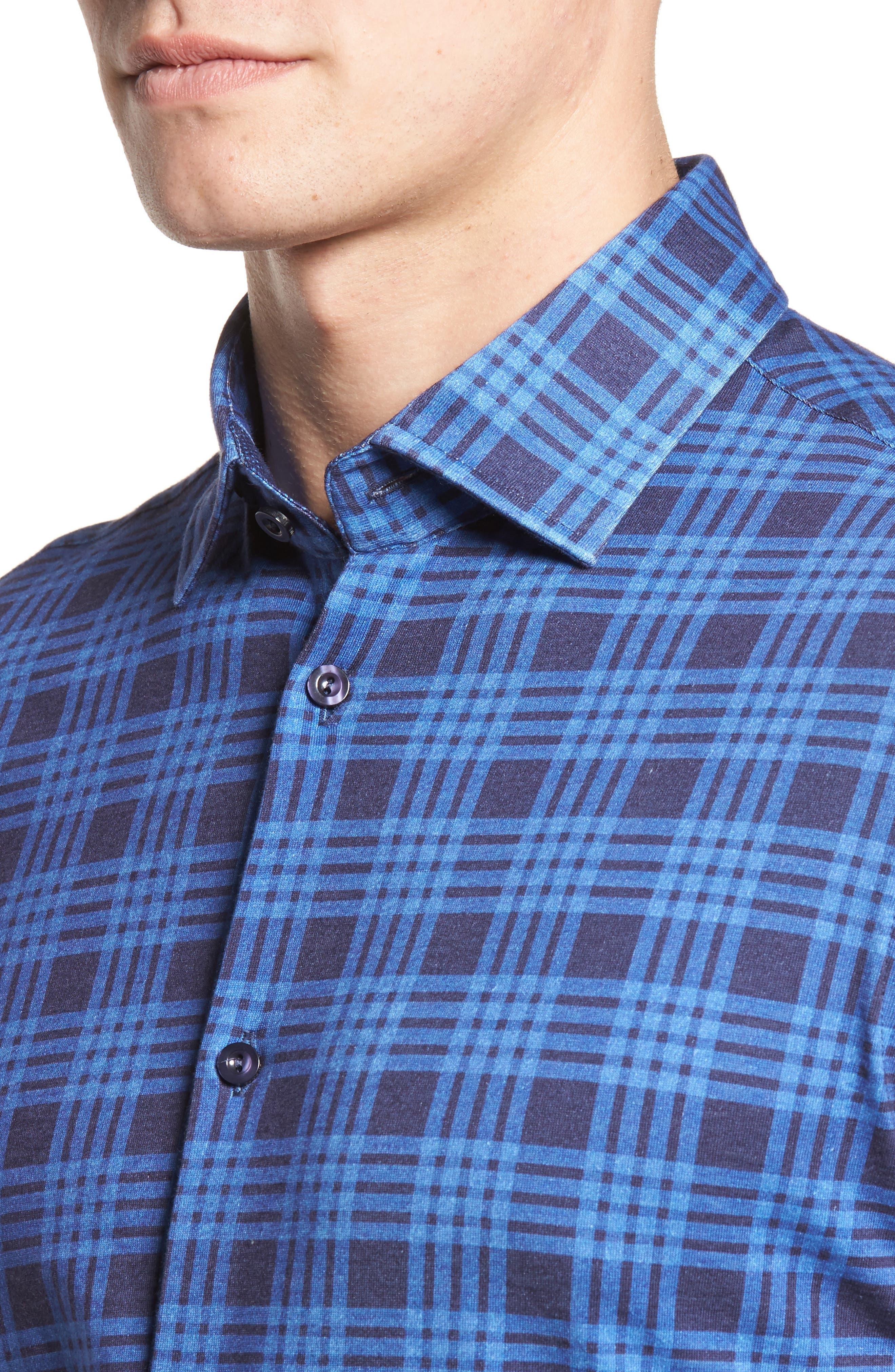 Slim Fit Plaid Knit Sport Shirt,                             Alternate thumbnail 4, color,                             Navy