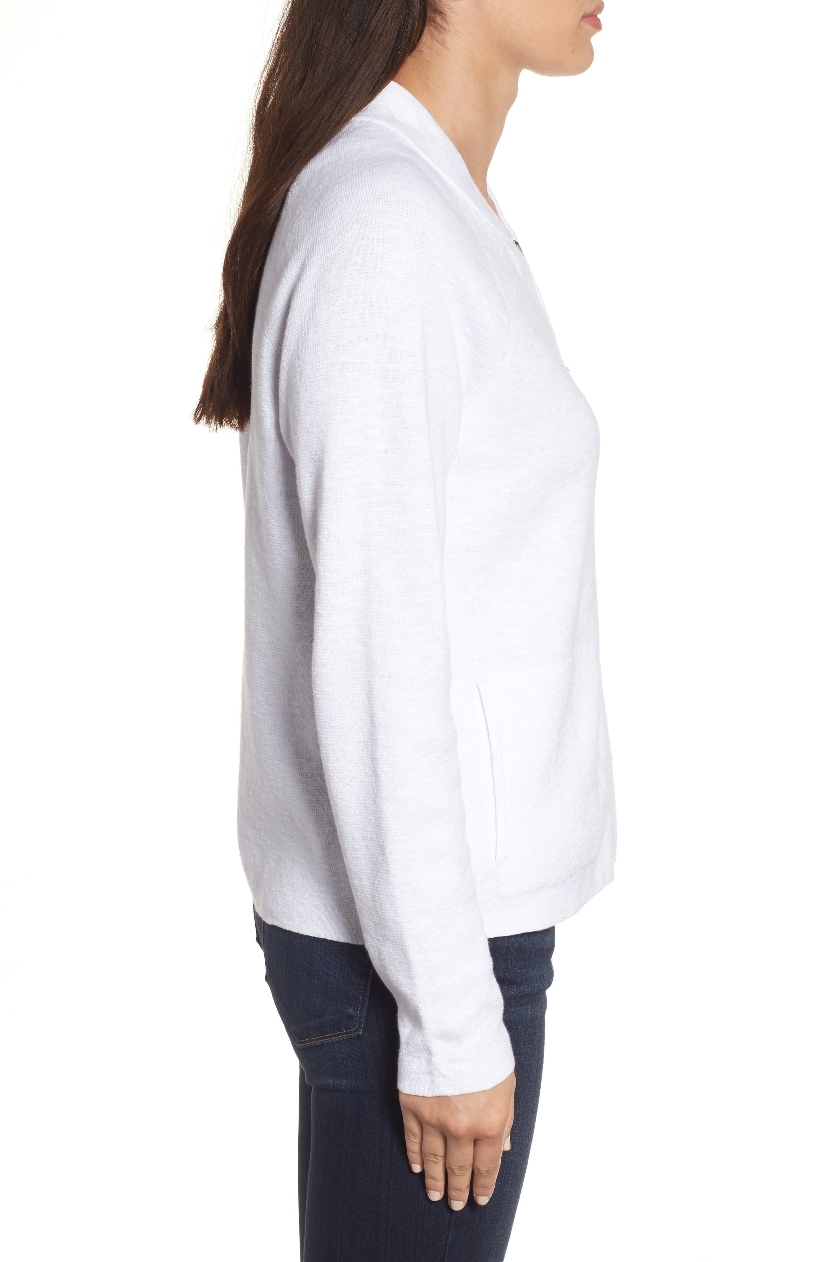 Organic Linen & Cotton Bomber Cardigan,                             Alternate thumbnail 3, color,                             White