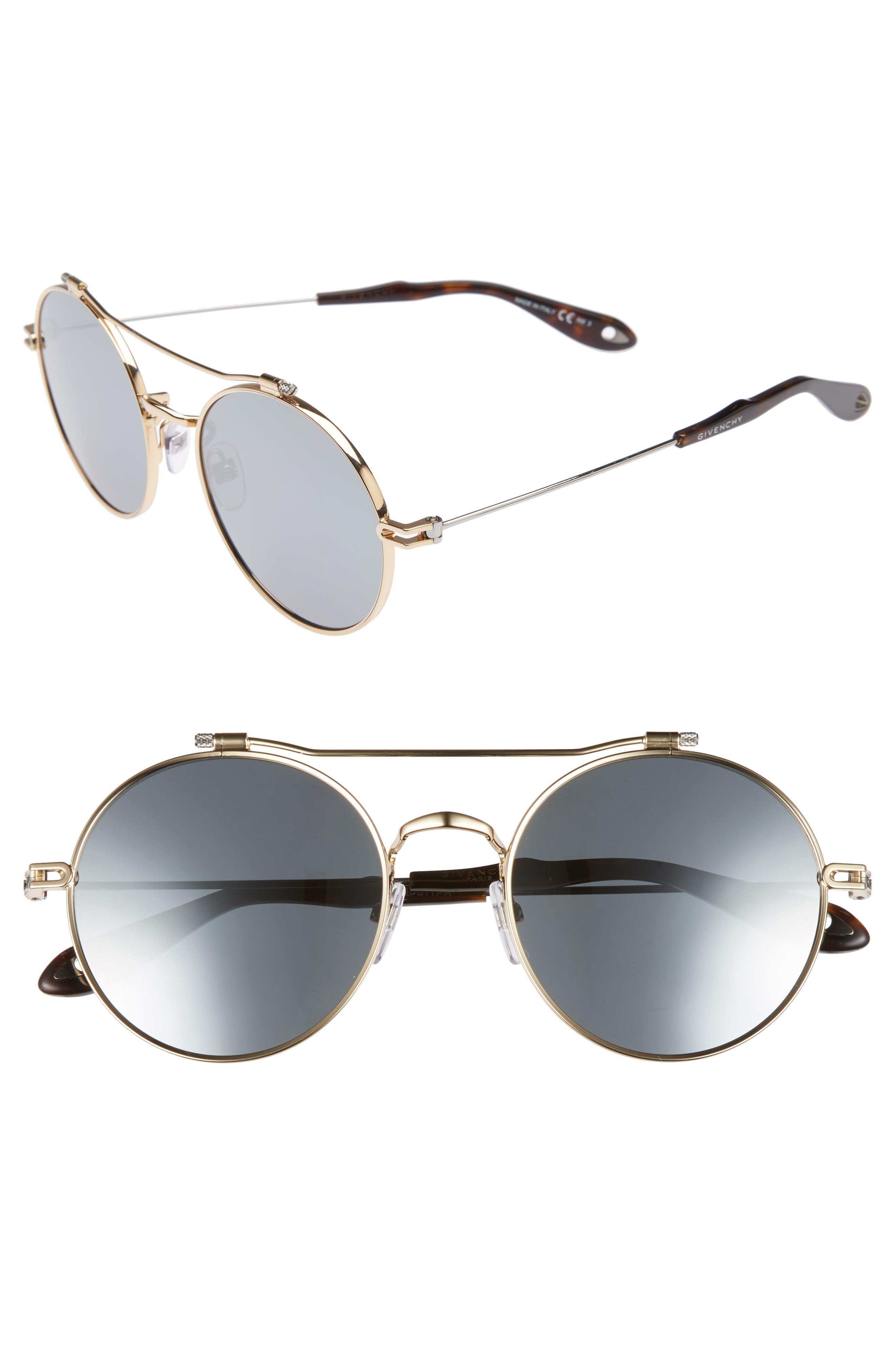 53mm Round Aviator Sunglasses,                             Main thumbnail 1, color,                             Gold Ruthenium/ Black Mirror