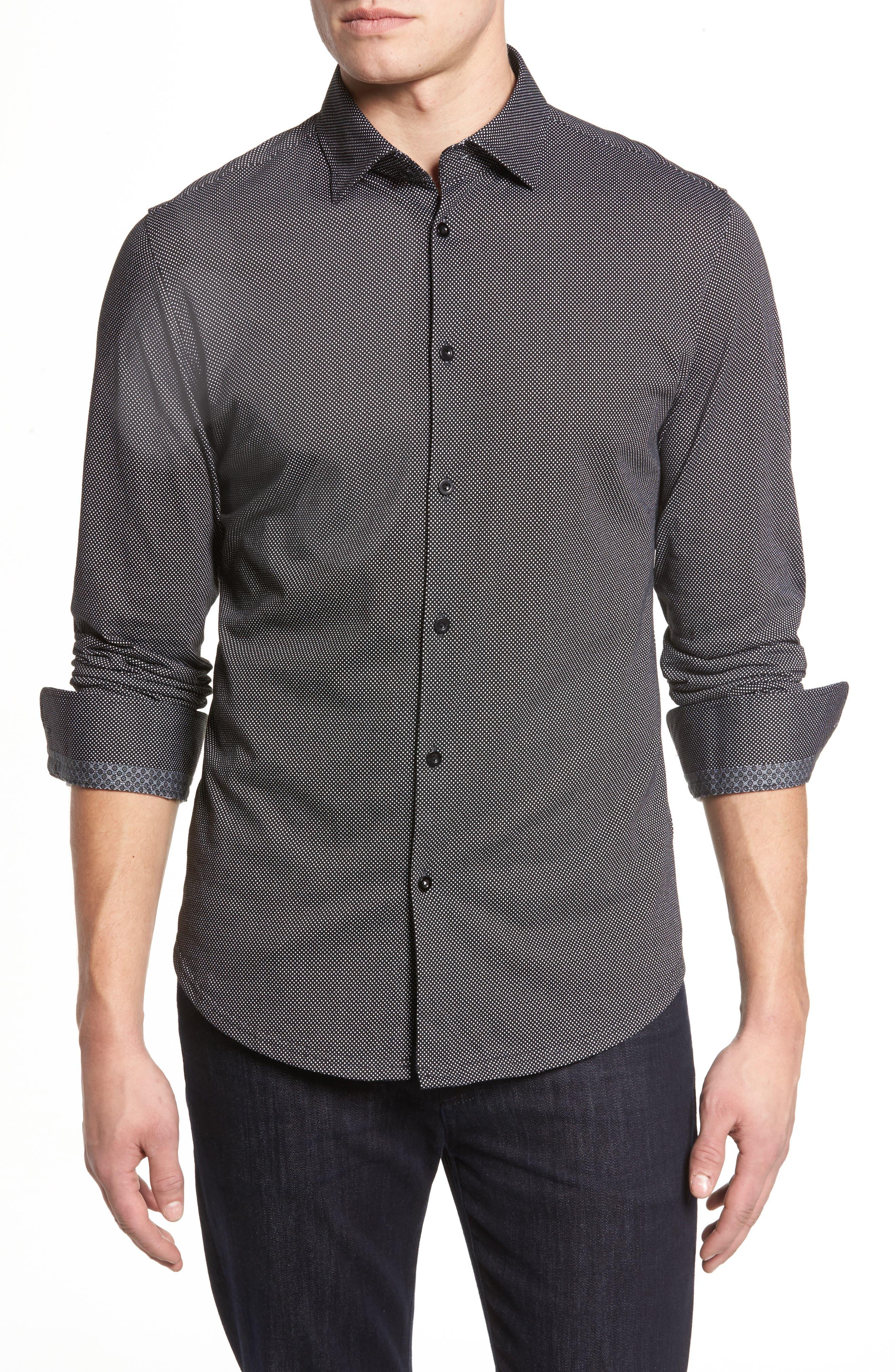 Slim Fit Micro Dot Knit Sport Shirt,                             Main thumbnail 1, color,                             Black