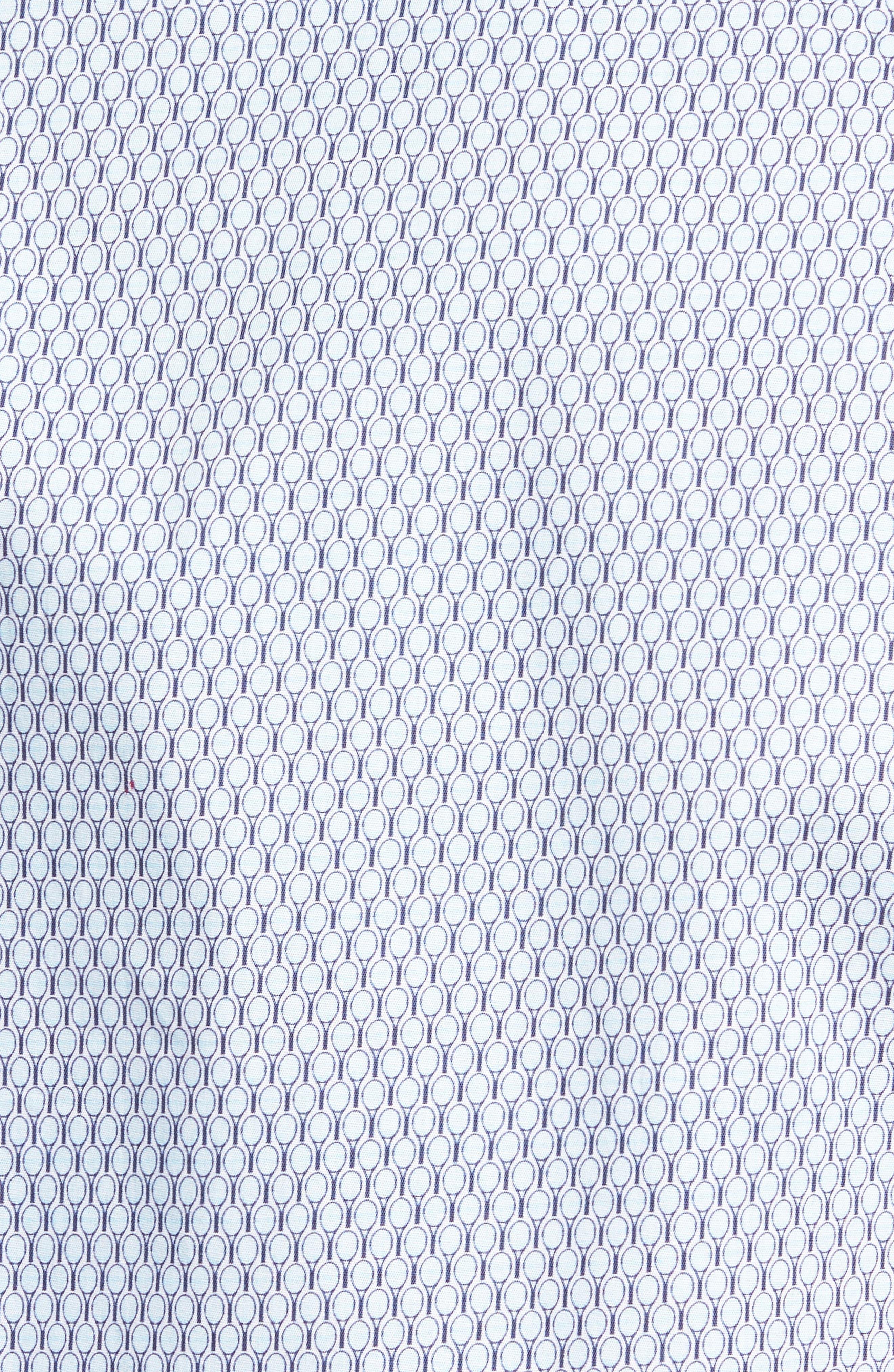 Slim Fit Tennis Racquet Print Sport Shirt,                             Alternate thumbnail 5, color,                             Blue