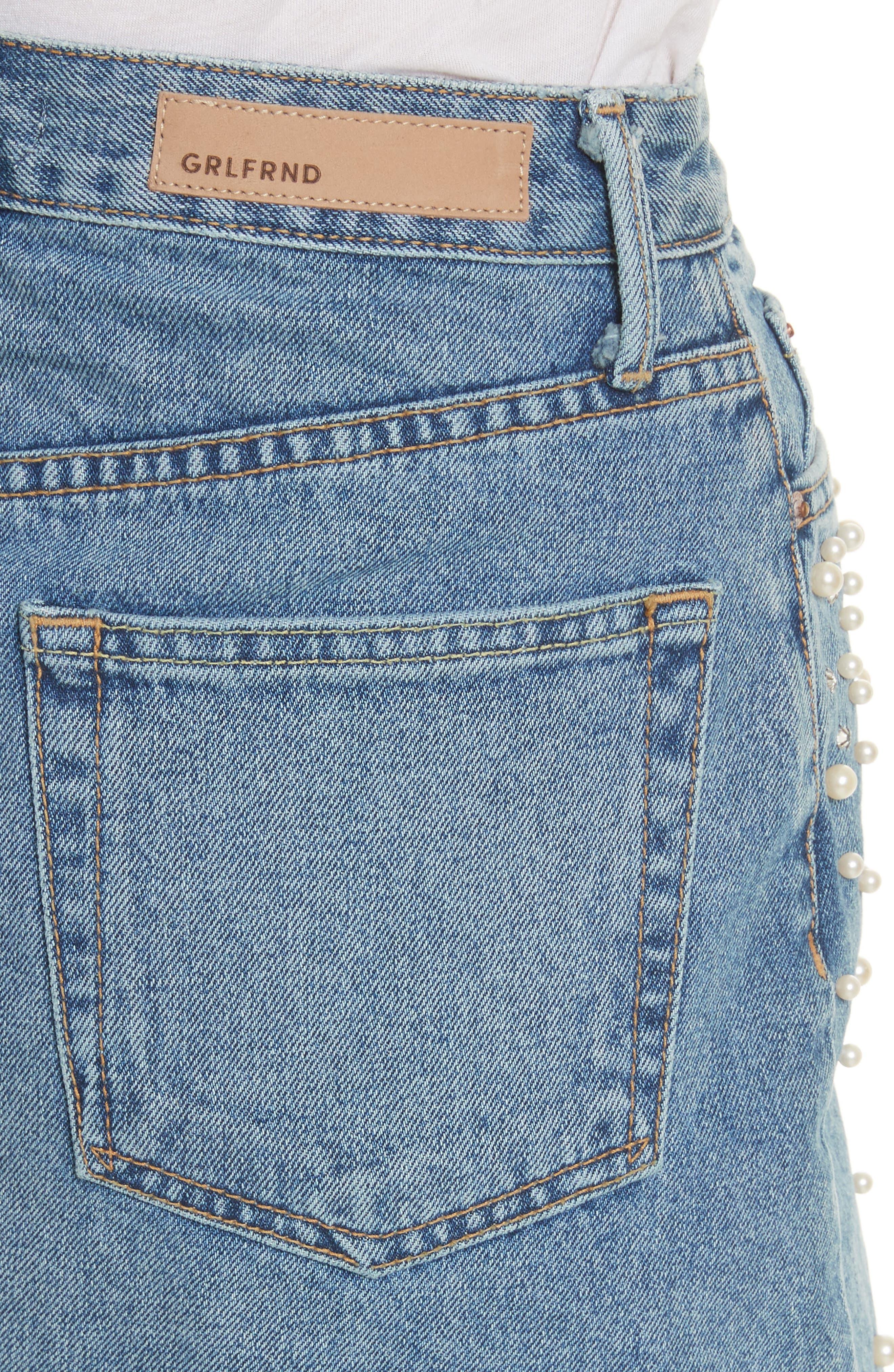 Milla Faux Pearl & Crystal Embellished A-Line Denim Skirt,                             Alternate thumbnail 4, color,                             Solstice