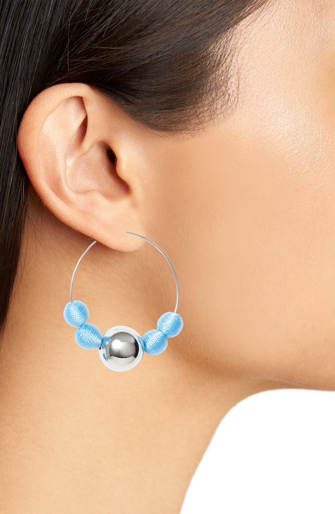 Threaded Sphere Hoop Earrings,                             Alternate thumbnail 2, color,                             Blue/ Silver