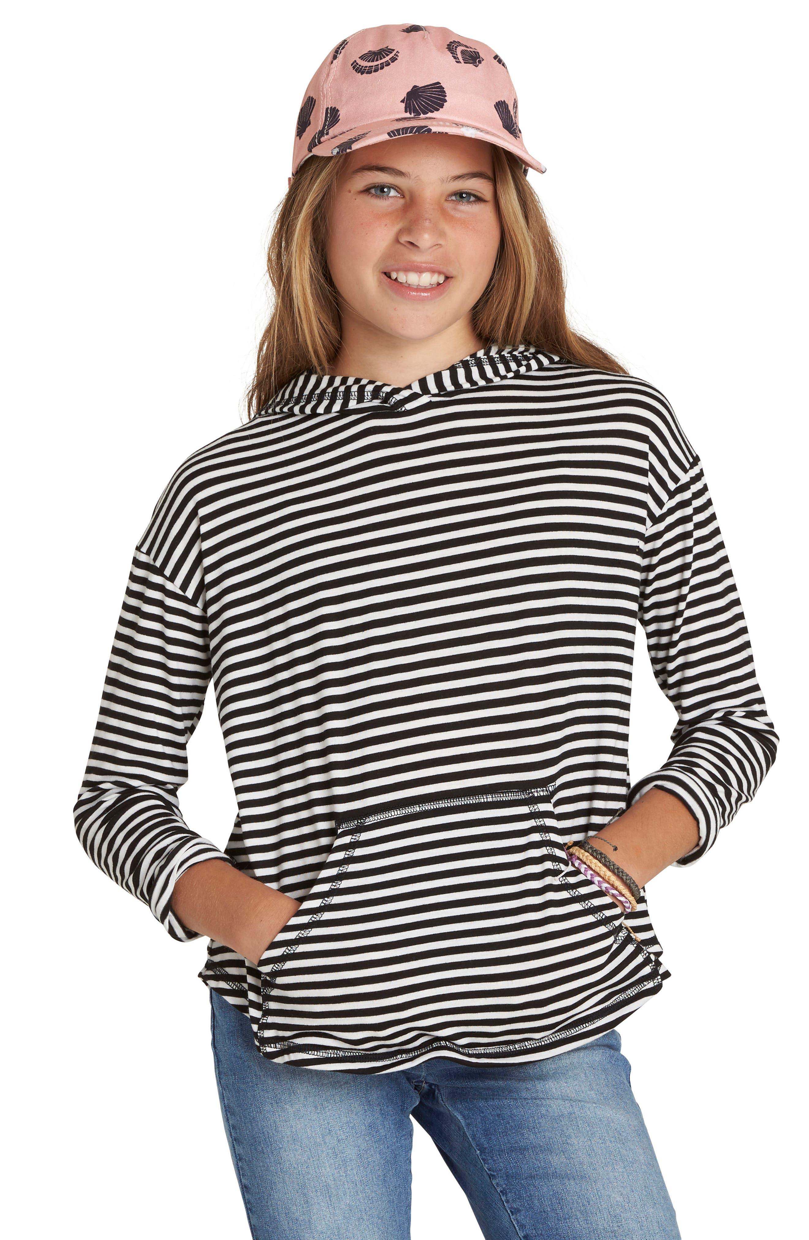 Alternate Image 1 Selected - Billabong These Days Stripe Hoodie (Little Girls & Big Girls)
