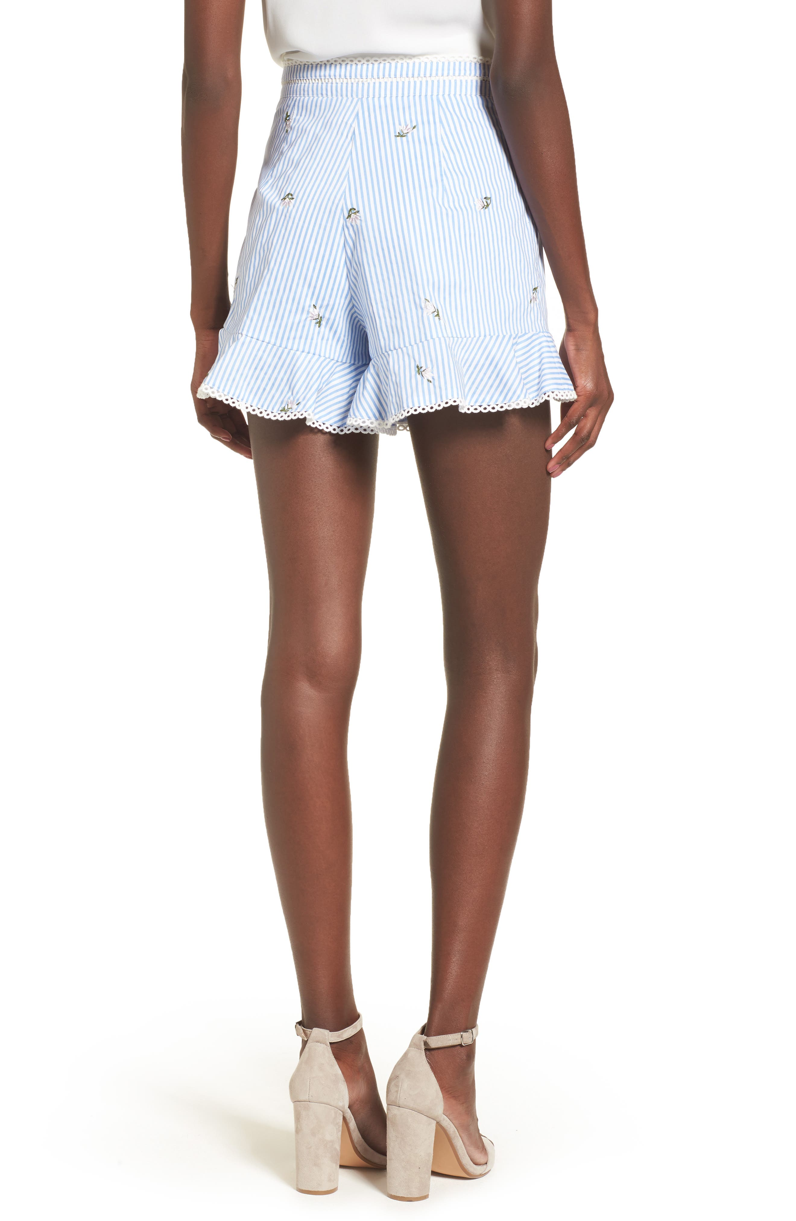 Embroidered Shorts,                             Alternate thumbnail 2, color,                             Blue/ Ivory Stripe