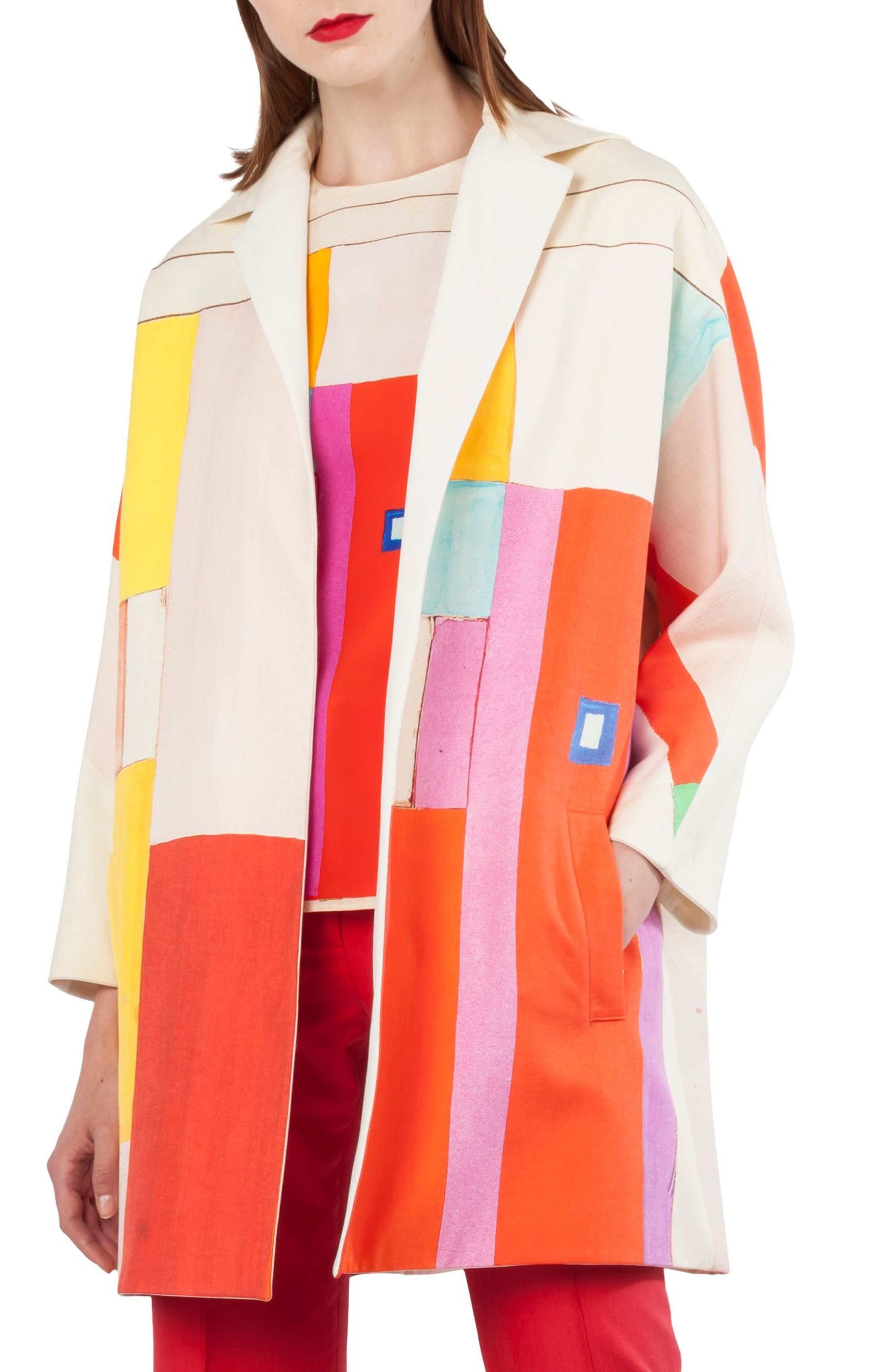 Mural Print Cotton & Silk Reversible Coat,                             Main thumbnail 1, color,                             Multicolor