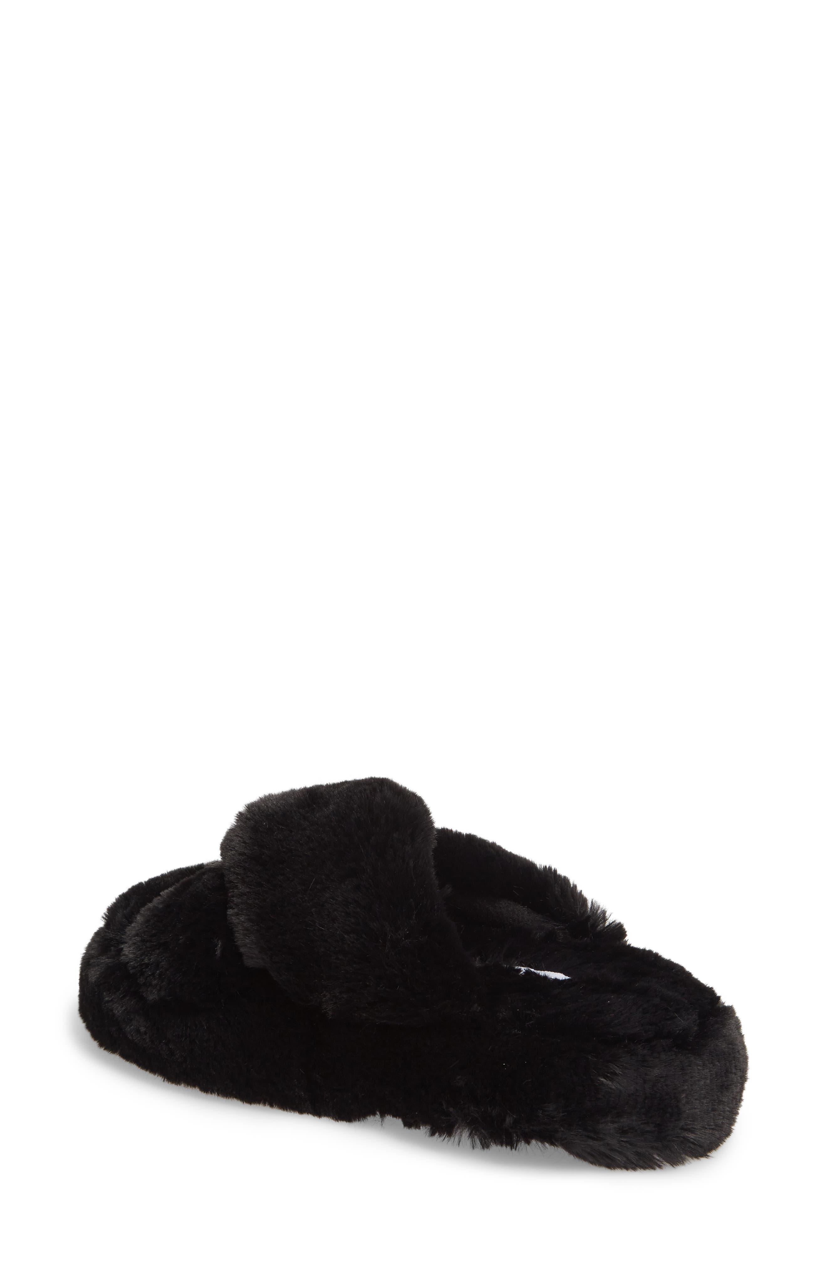 Comfy Faux Fur Slipper,                             Alternate thumbnail 2, color,                             Black