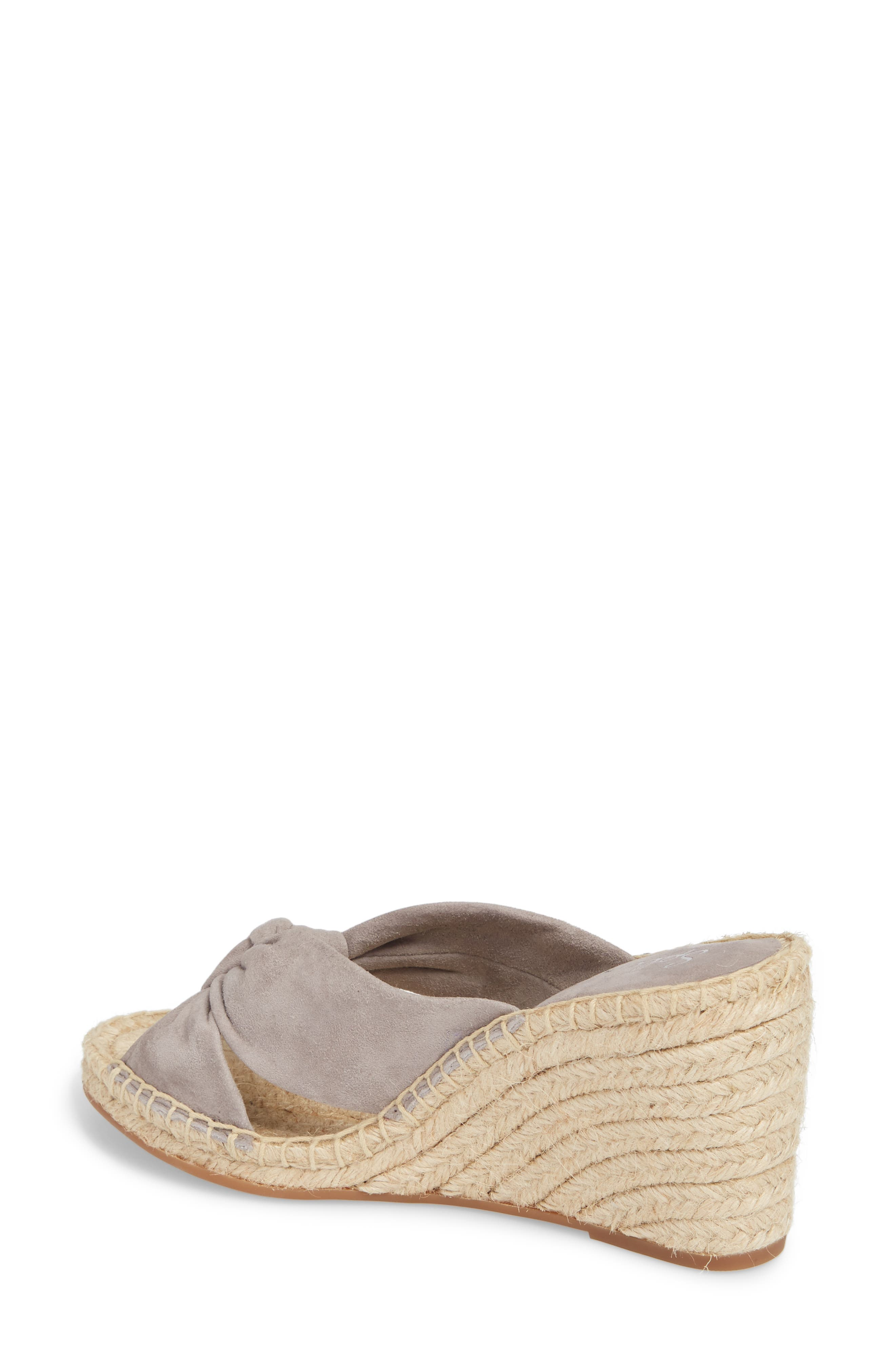 Bautista Knotted Wedge Sandal,                             Alternate thumbnail 2, color,                             Grey Suede
