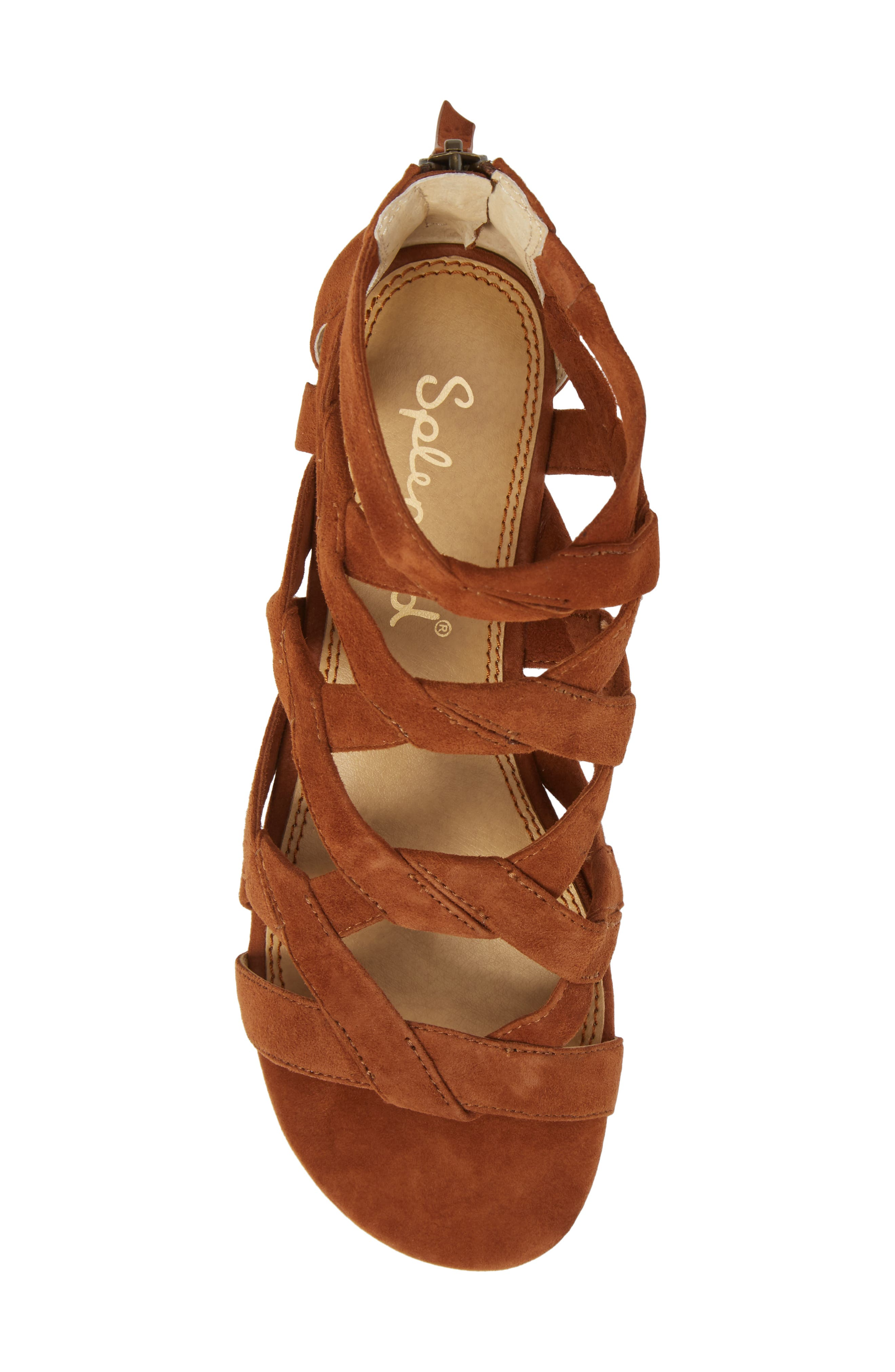Barrett Mid Top Cage Sandal,                             Alternate thumbnail 5, color,                             Caramel Suede