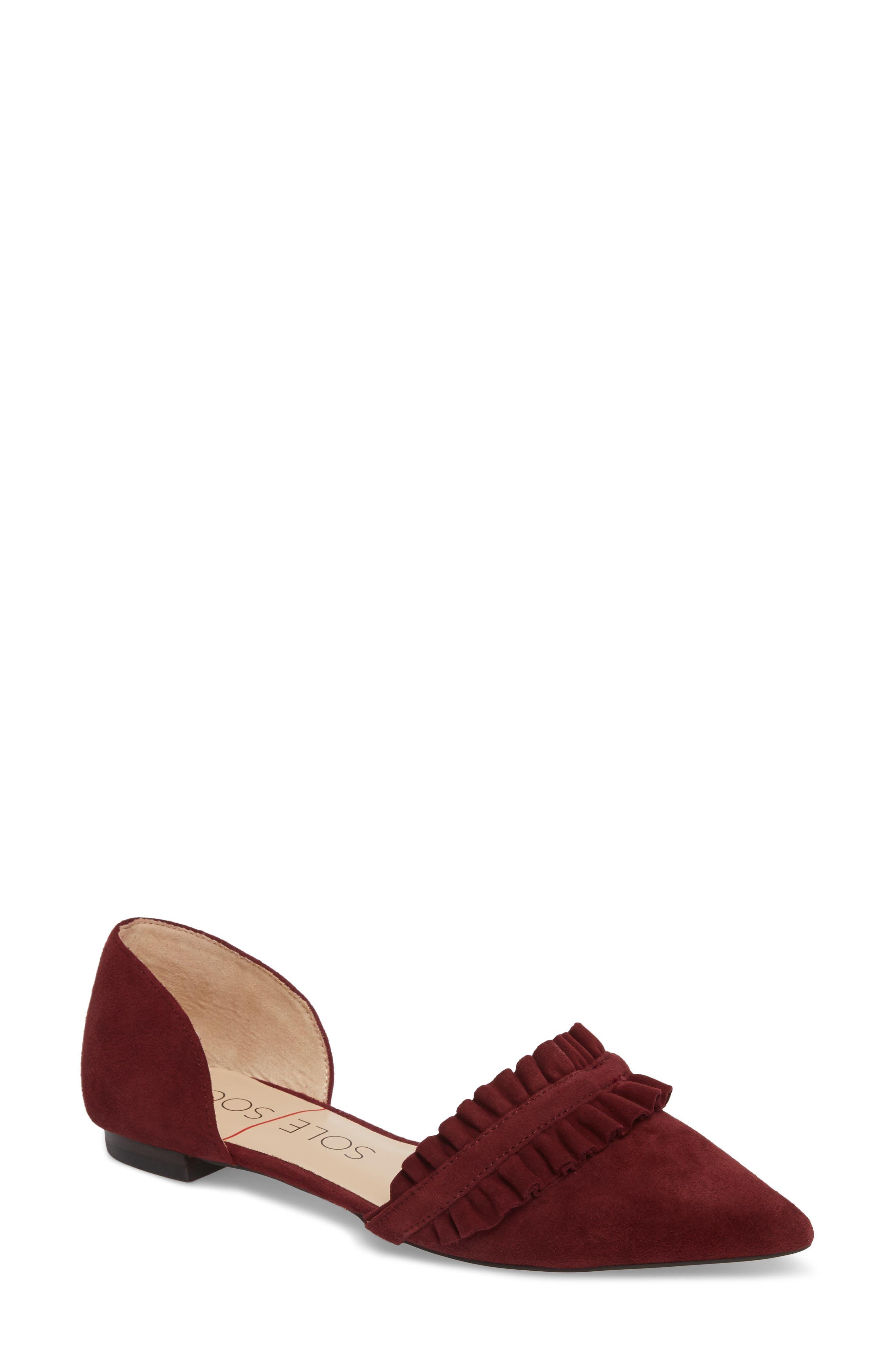 Alternate Image 1 Selected - Sole Society Rosalind Ruffle d'Orsay Flat (Women)