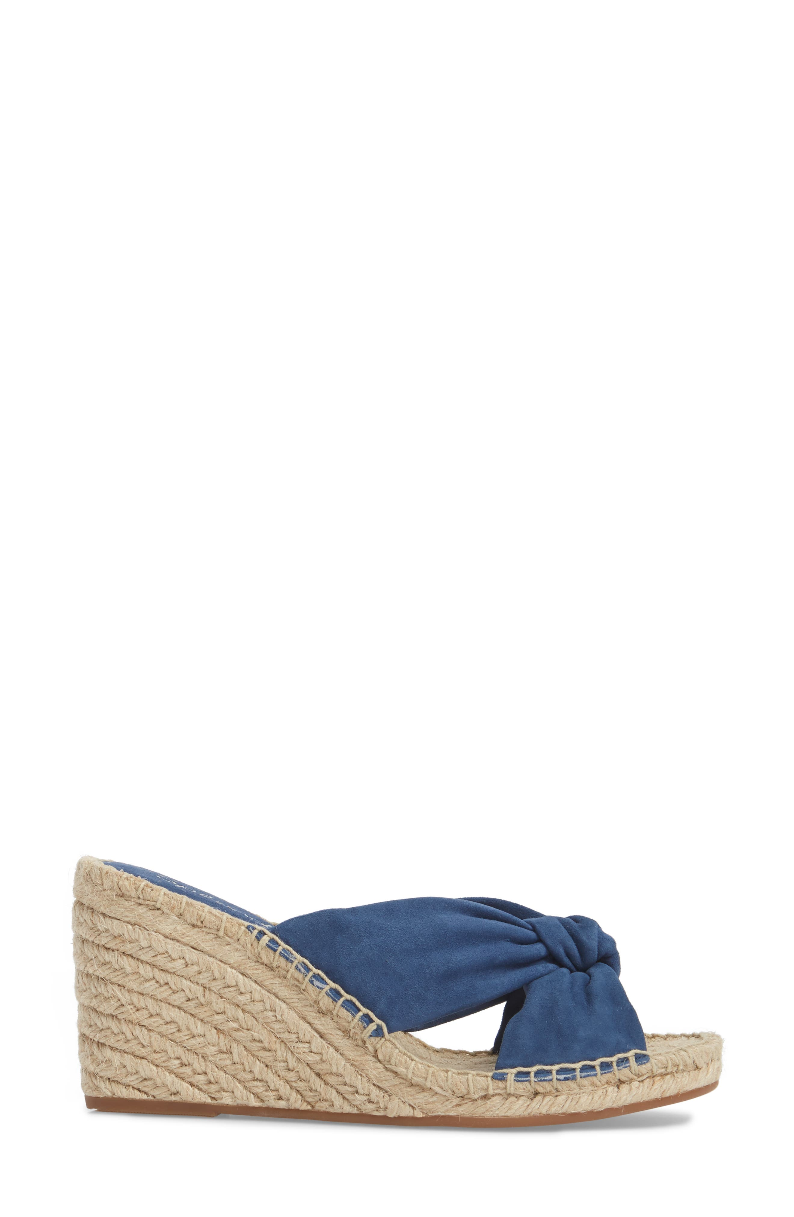 Bautista Knotted Wedge Sandal,                             Alternate thumbnail 3, color,                             Denim Fabric