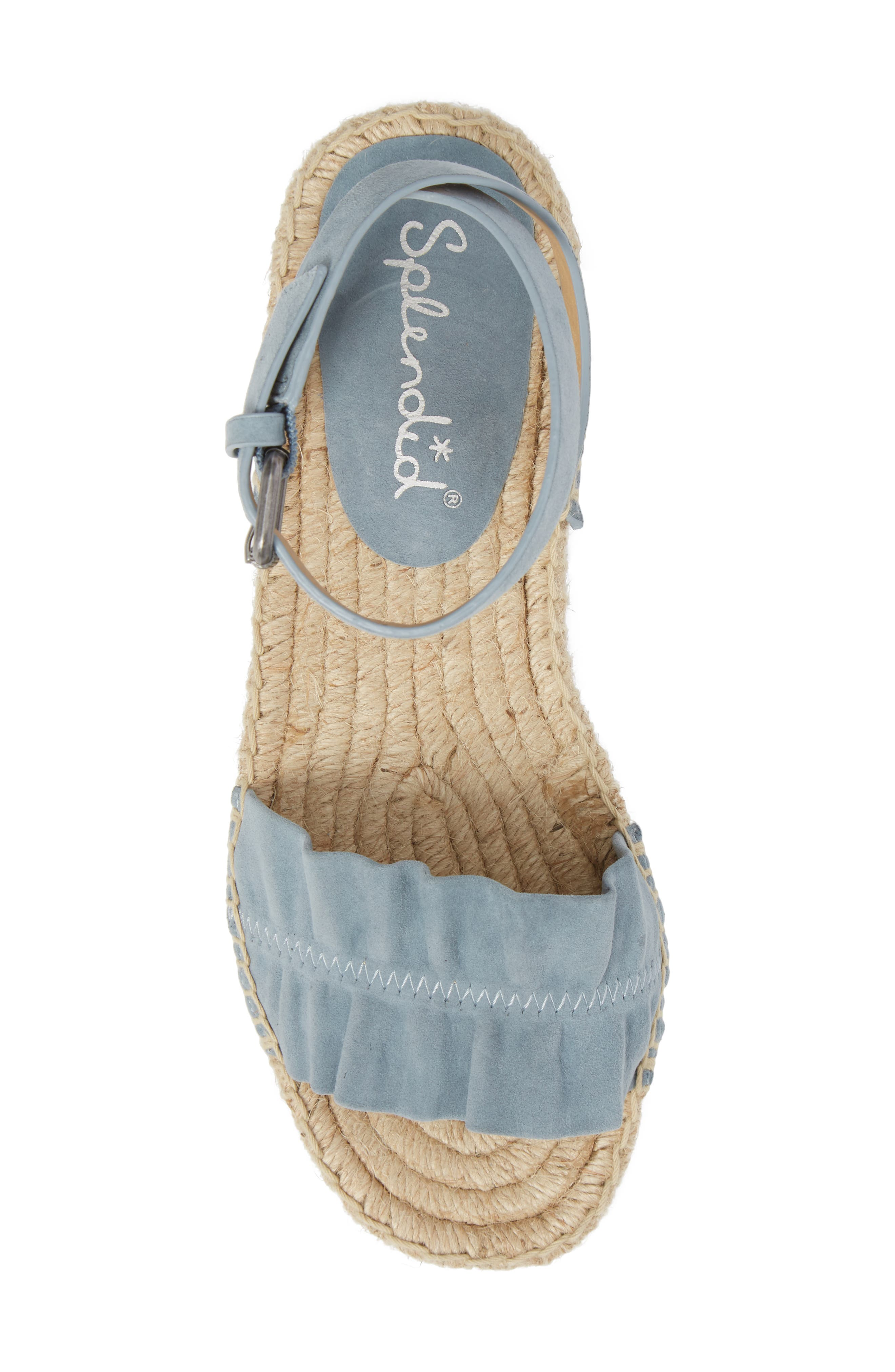 Becca Ruffled Espadrille Sandal,                             Alternate thumbnail 5, color,                             Shadow Blue Suede