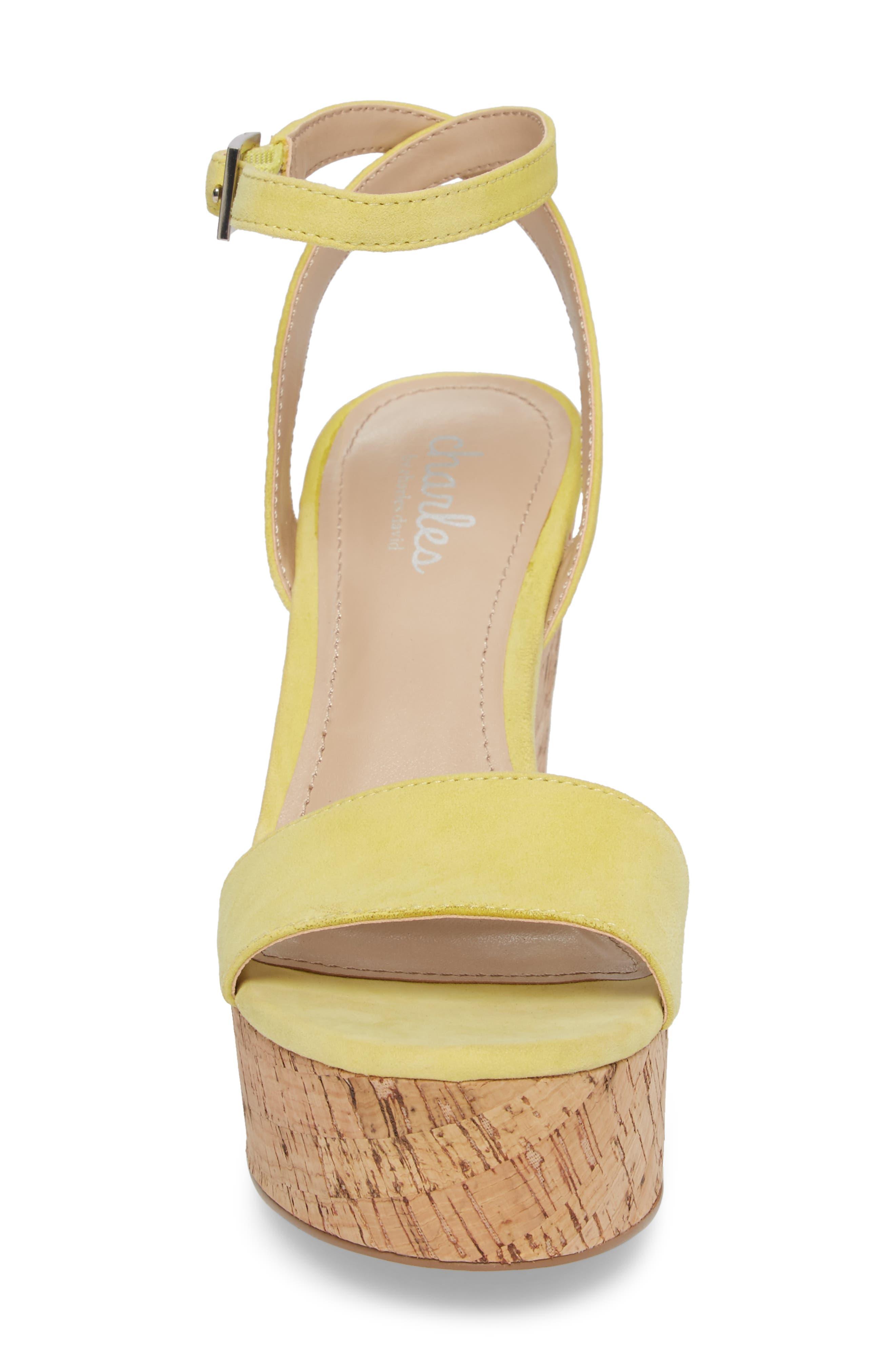 Lilla Platform Wedge Sandal,                             Alternate thumbnail 4, color,                             Yellow Suede