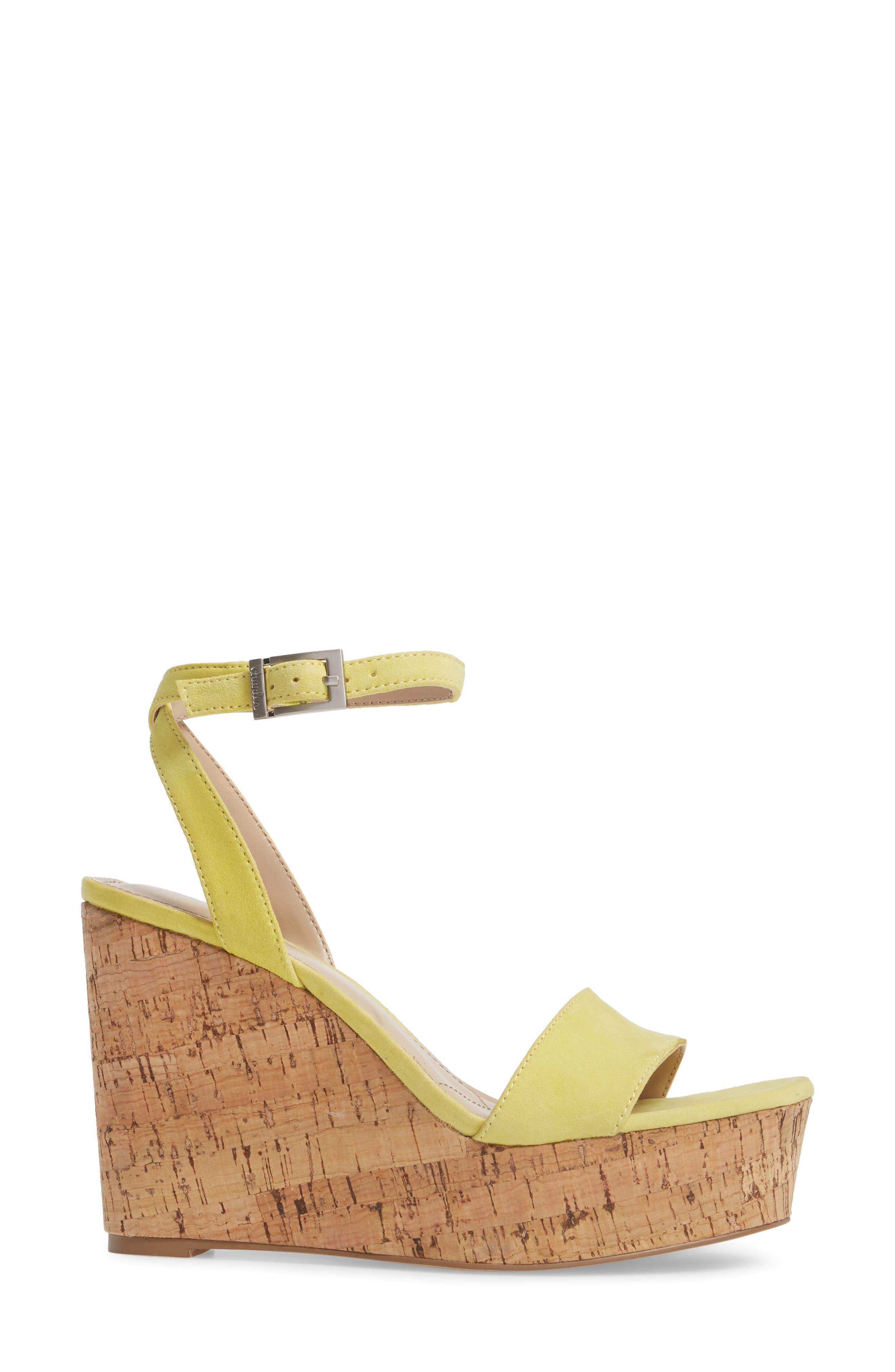 Lilla Platform Wedge Sandal,                             Alternate thumbnail 3, color,                             Yellow Suede