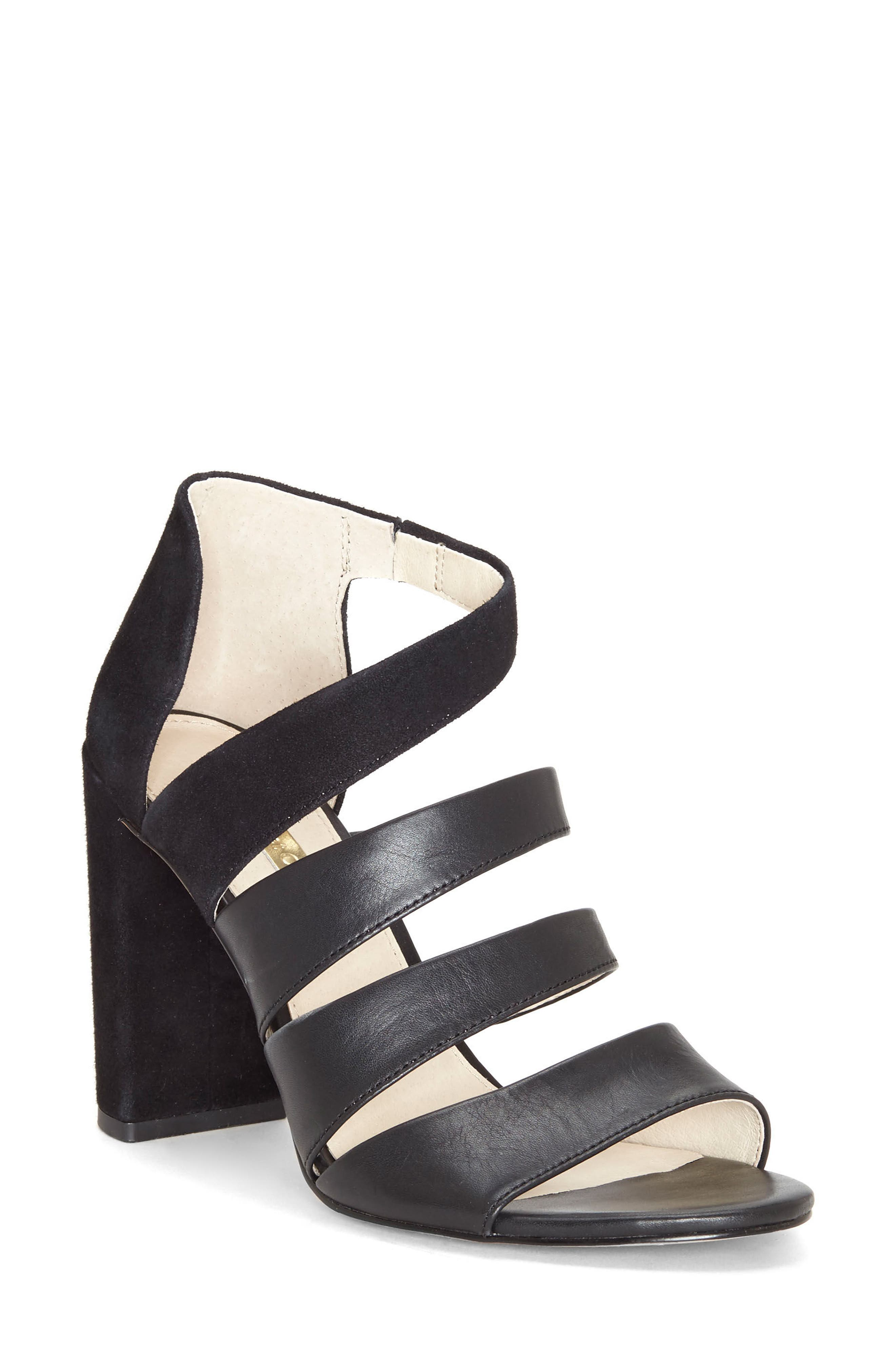 Kainey Strappy Sandal,                         Main,                         color, Black Leather