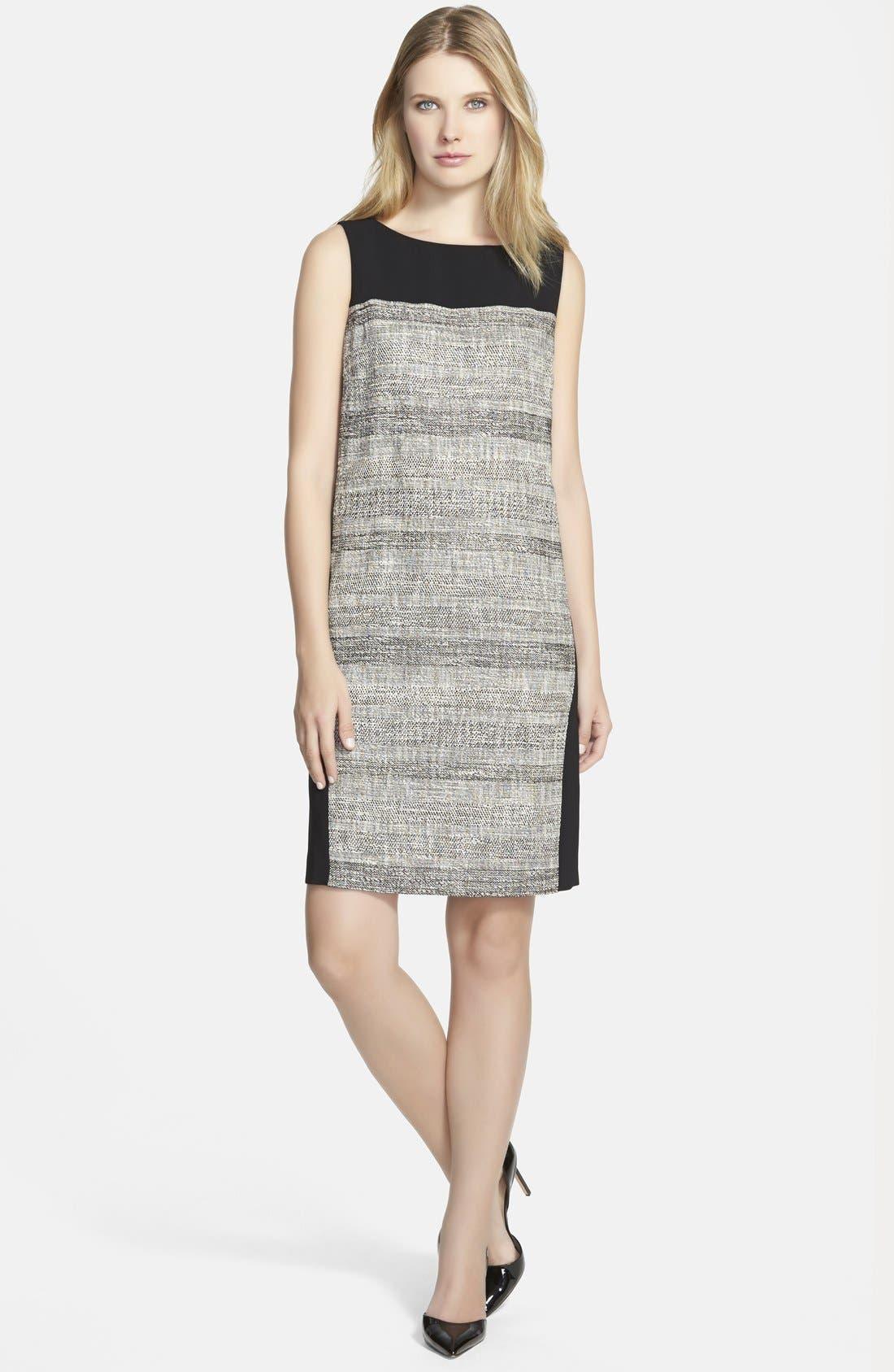 Main Image - BOSS 'Dalomi' Tweed Panel Shift Dress