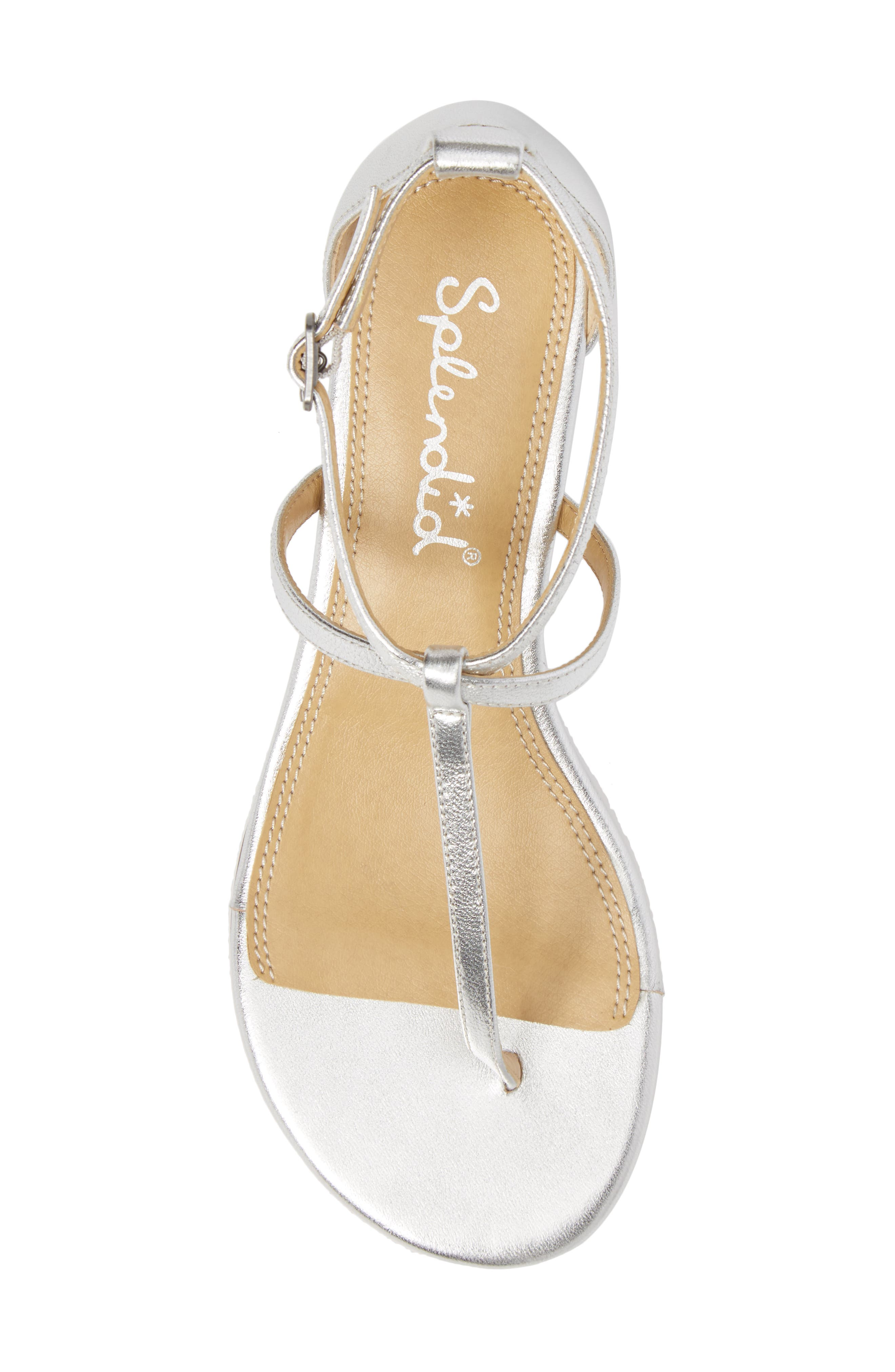 Bryce T-Strap Wedge Sandal,                             Alternate thumbnail 5, color,                             Silver Metallic Leather