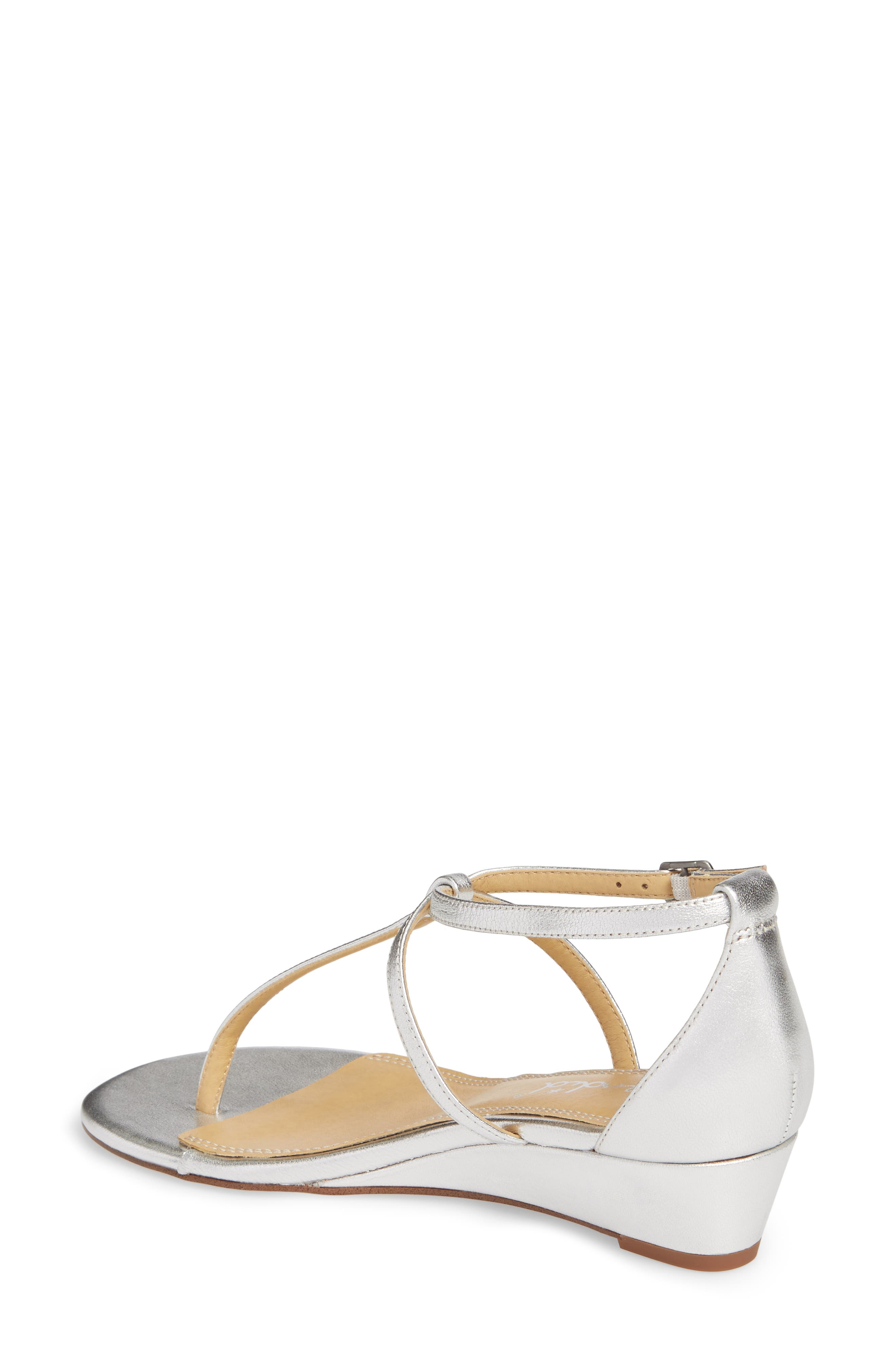 Bryce T-Strap Wedge Sandal,                             Alternate thumbnail 2, color,                             Silver Metallic Leather